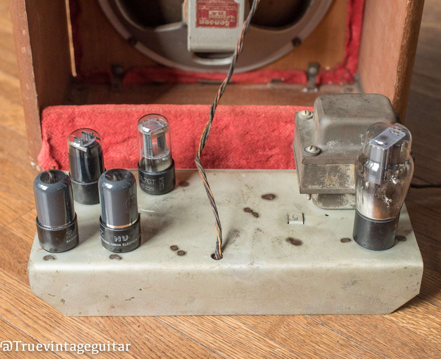 Tubes, Transformers, 1946 Fender Model 26 Red grill cloth Walnut cabinet