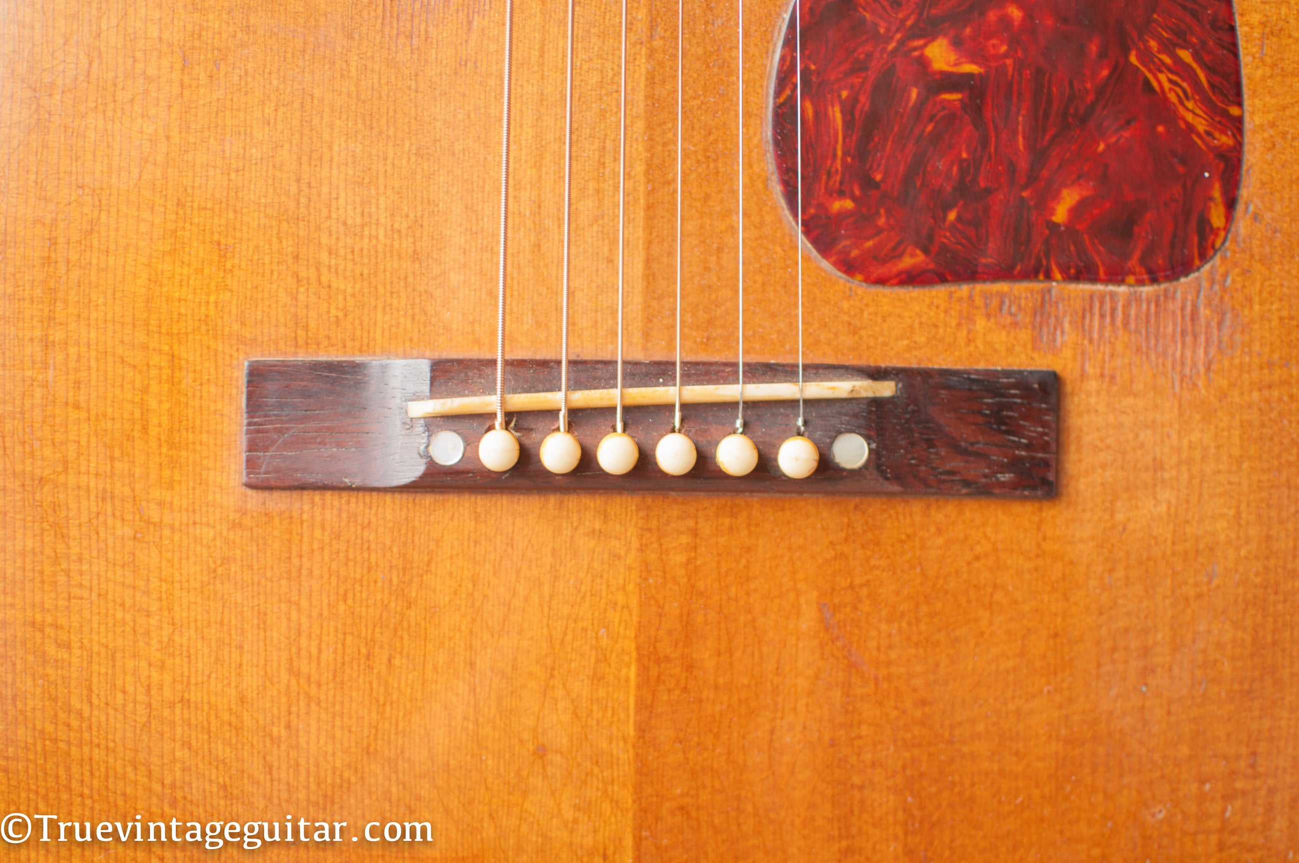 Rectangle bridge, slot saddle, Gibson J50 1948
