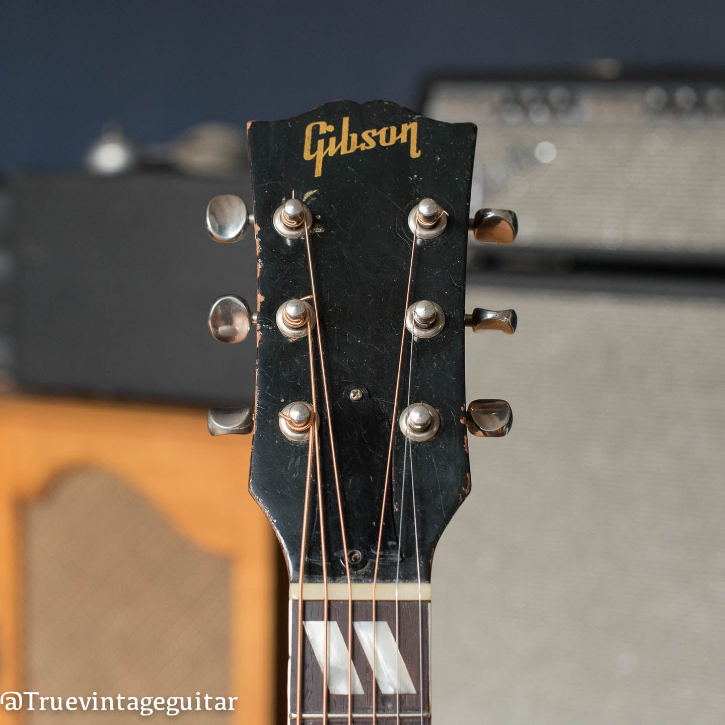 Gibson headstock, 1950s acoustic guitar