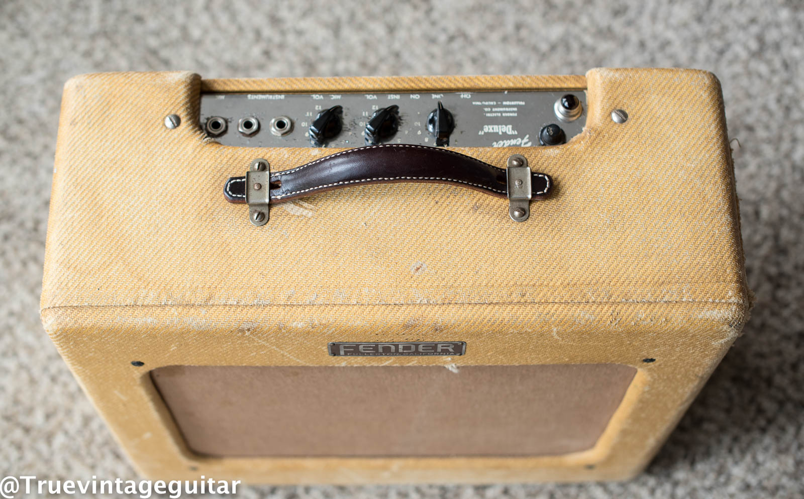 Vintage 1950s Fender guitar amp tweed