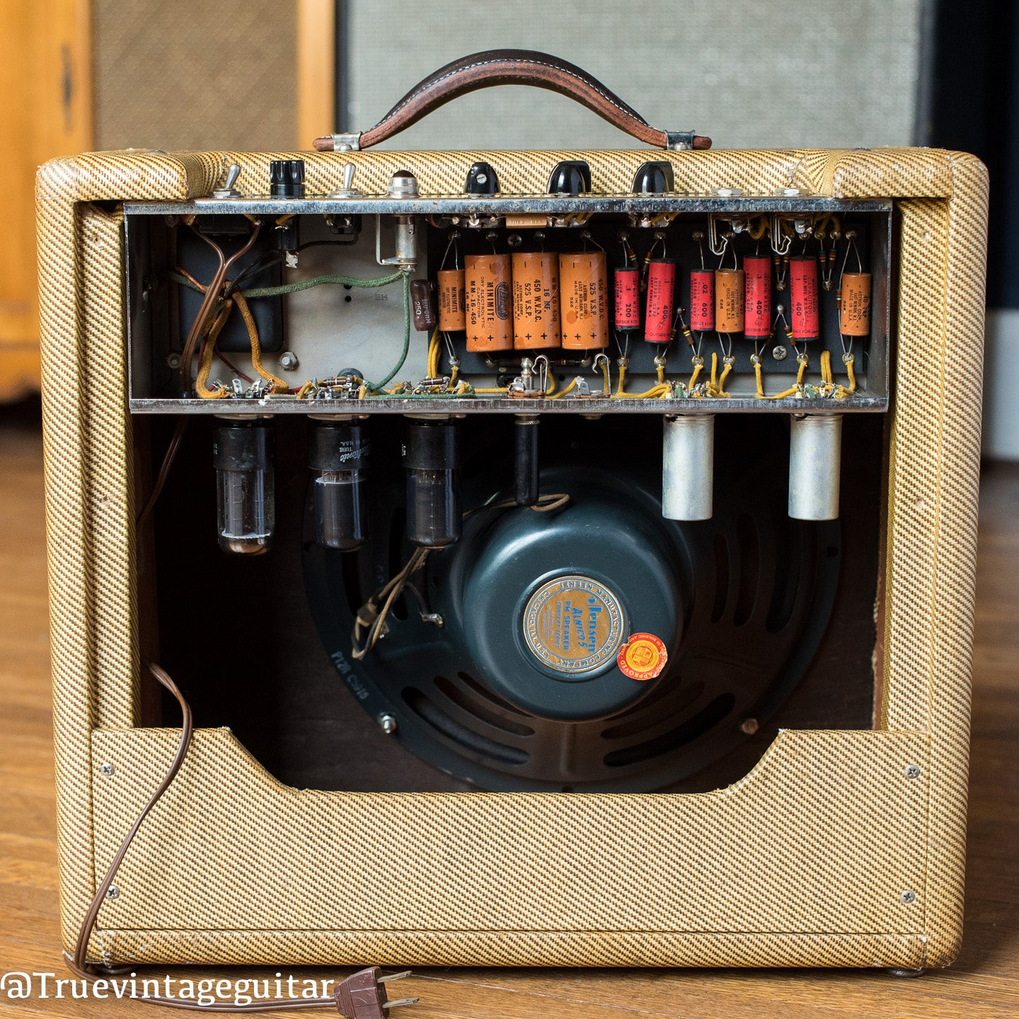 chassis, circuit, capacitors, Jensen speaker, 1955 Fender Deluxe amp tweed