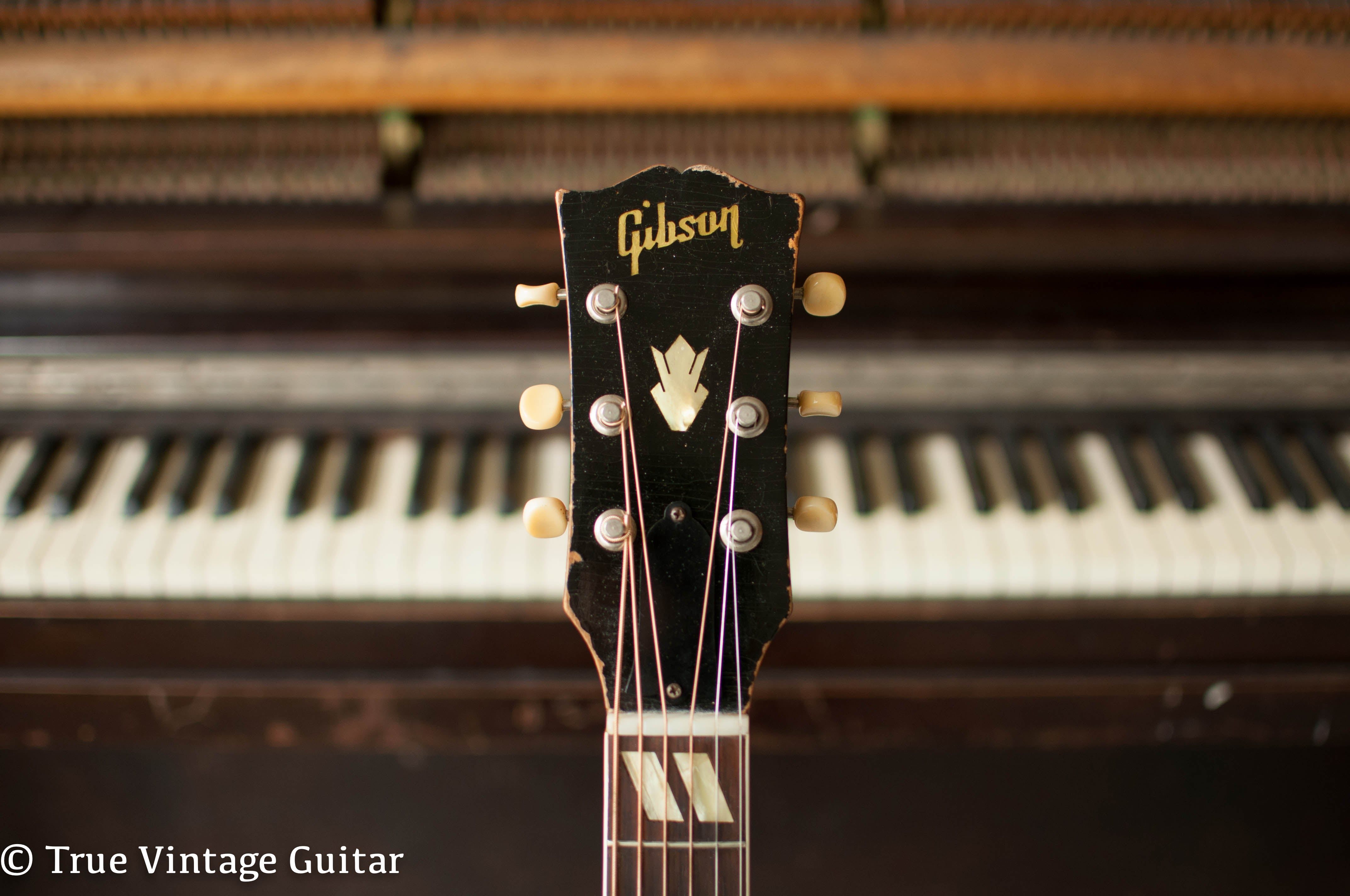 1950s Gibson headstock, pearl Gibson inlay, 1950s guitar