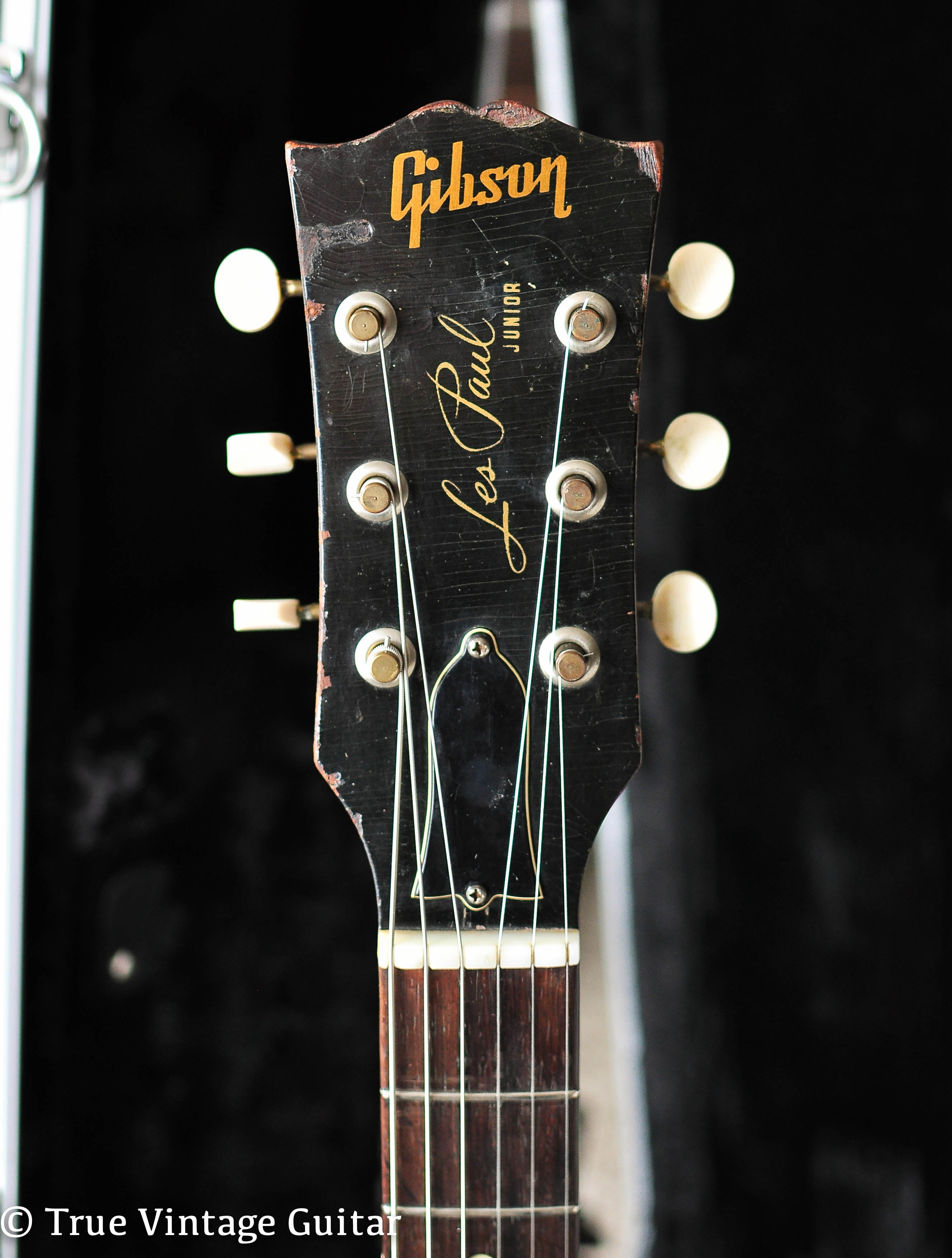 Headstock, Vintage 1956 Gibson Les Paul Junior guitar