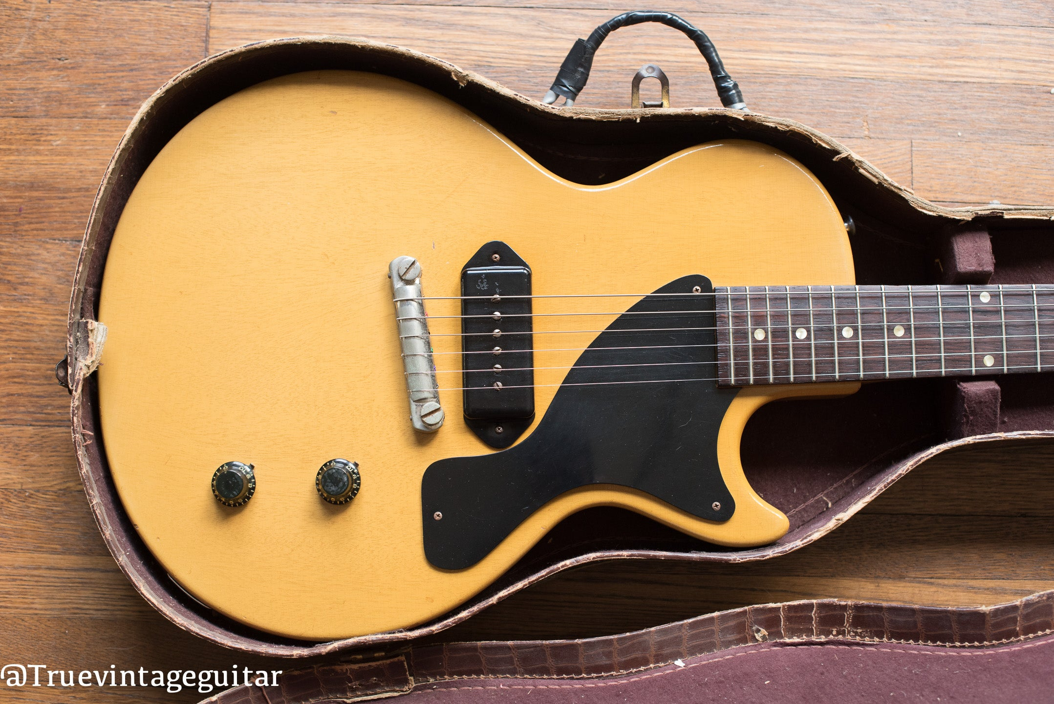 Vintage 1957 Gibson Les Paul yellow guitar