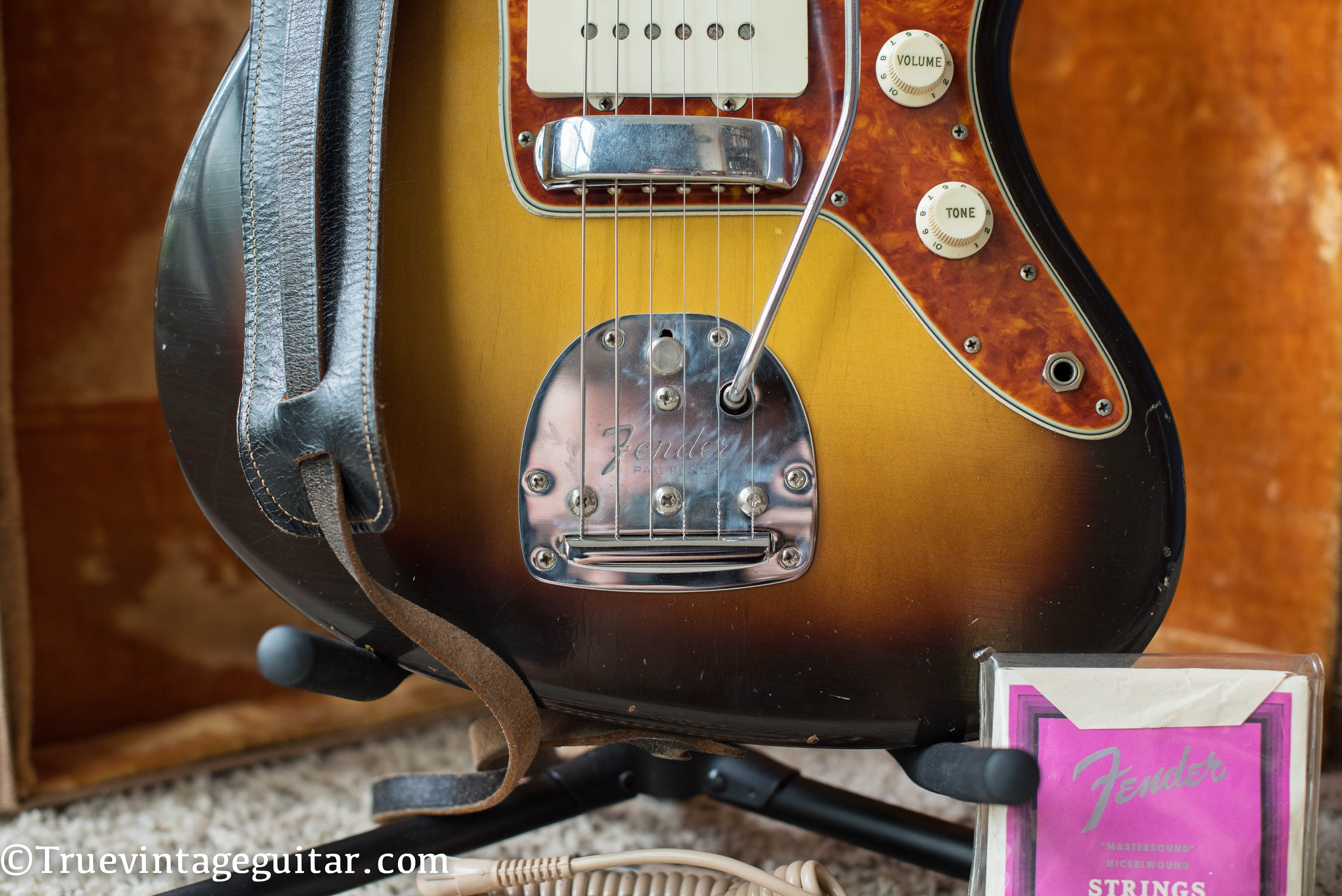 Patent Pending tremolo tailpiece, 1960 Fender Jazzmaster
