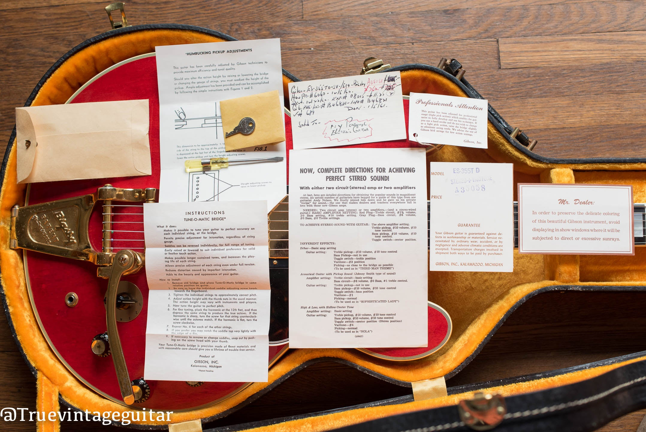 hang tags, paperwork, case candy, 1960 Gibson ES-355