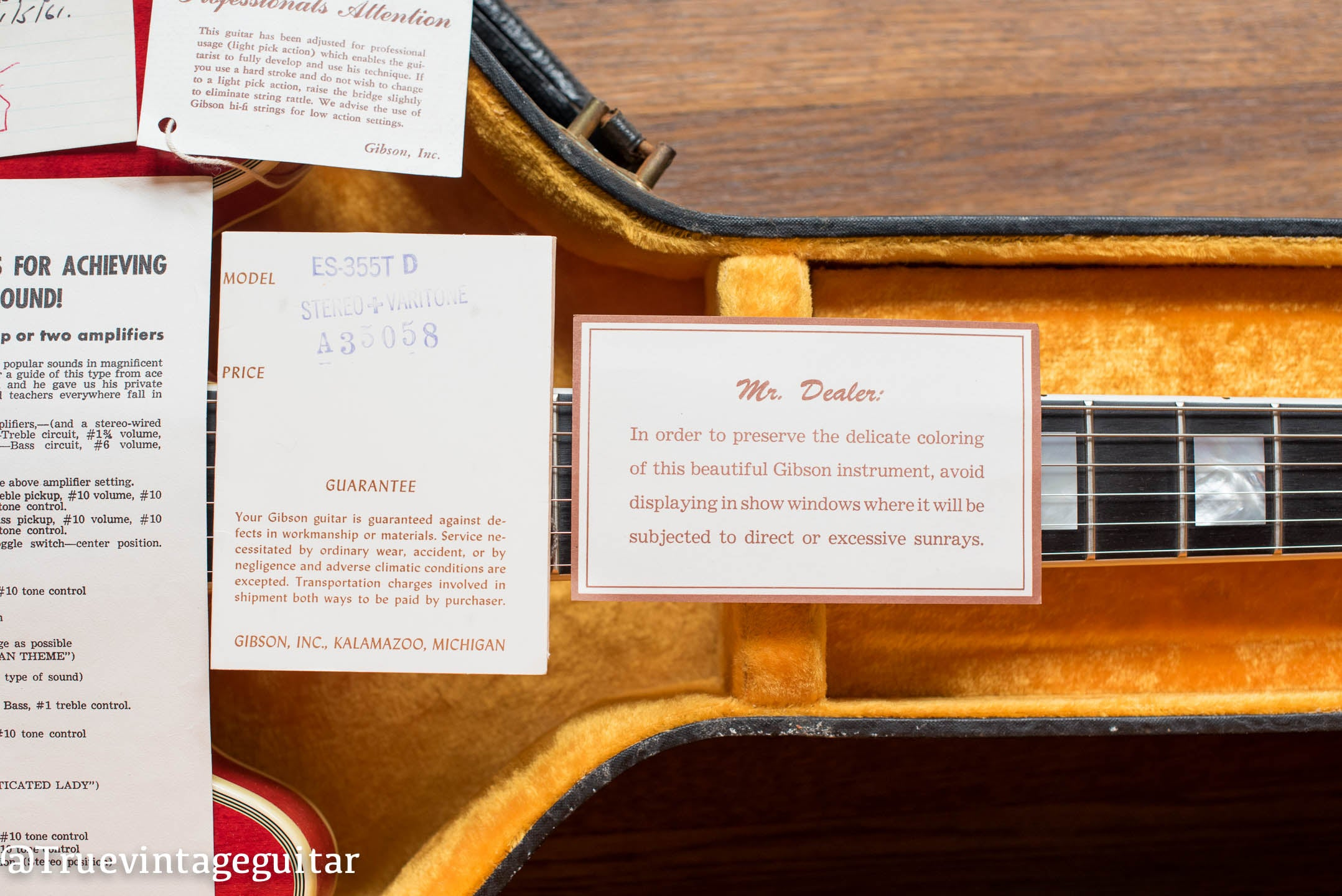 1960 Gibson ES-355 TDSV Mr. Dealer card