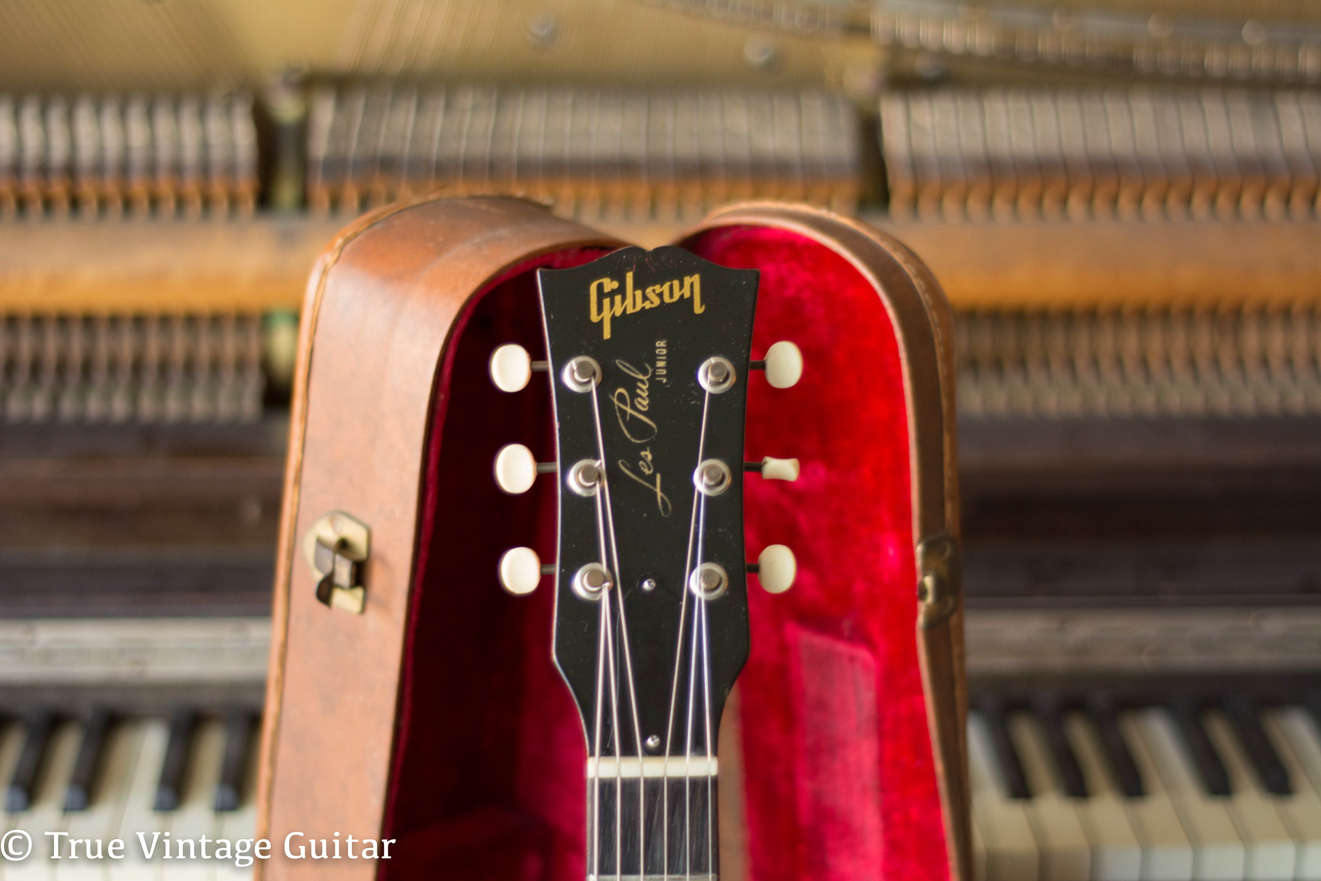 Headstock, Vintage 1961 Gibson Les Paul Junior electric guitar