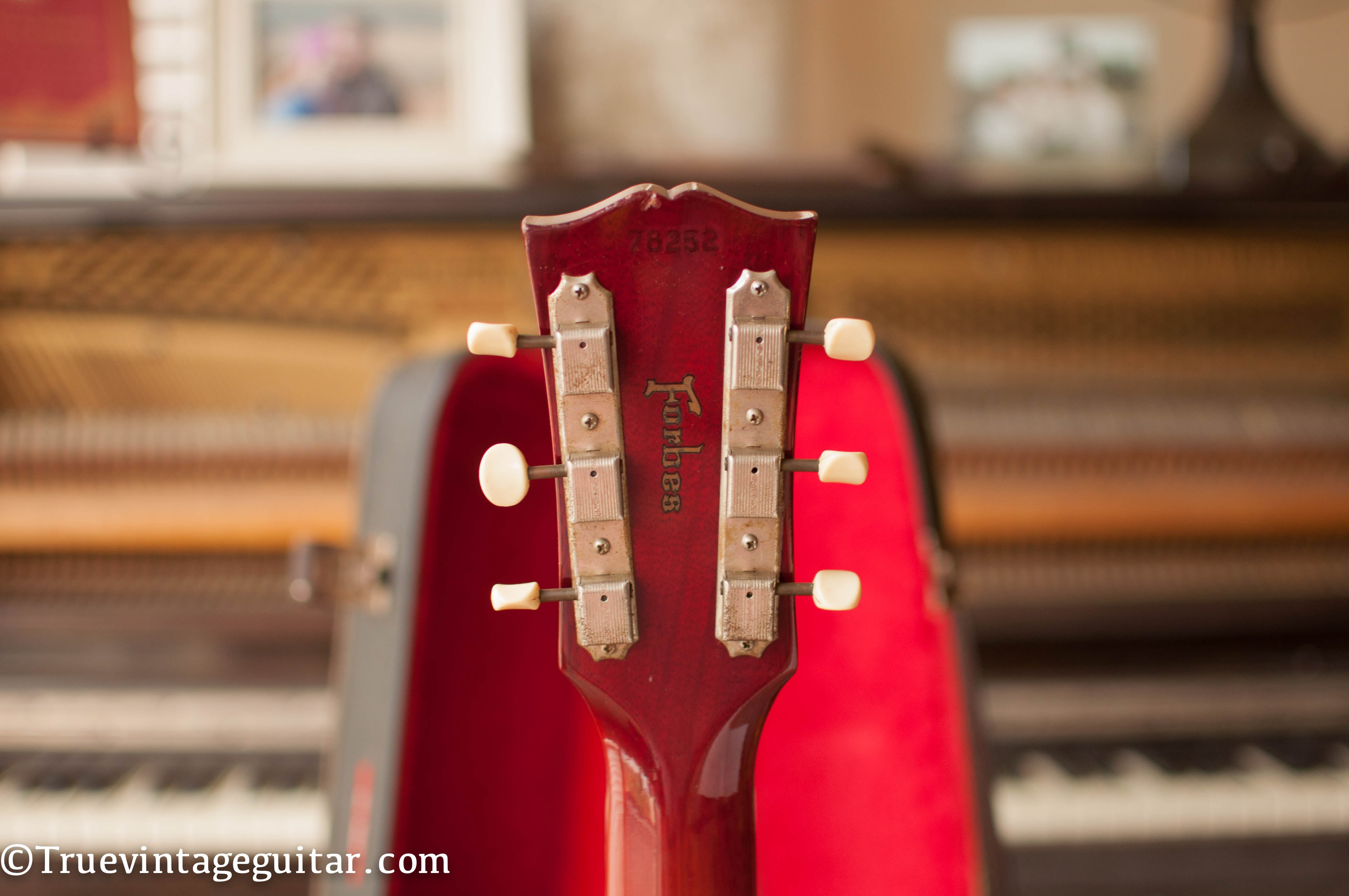 Gibson guitar Forbes sticker on neck headstock