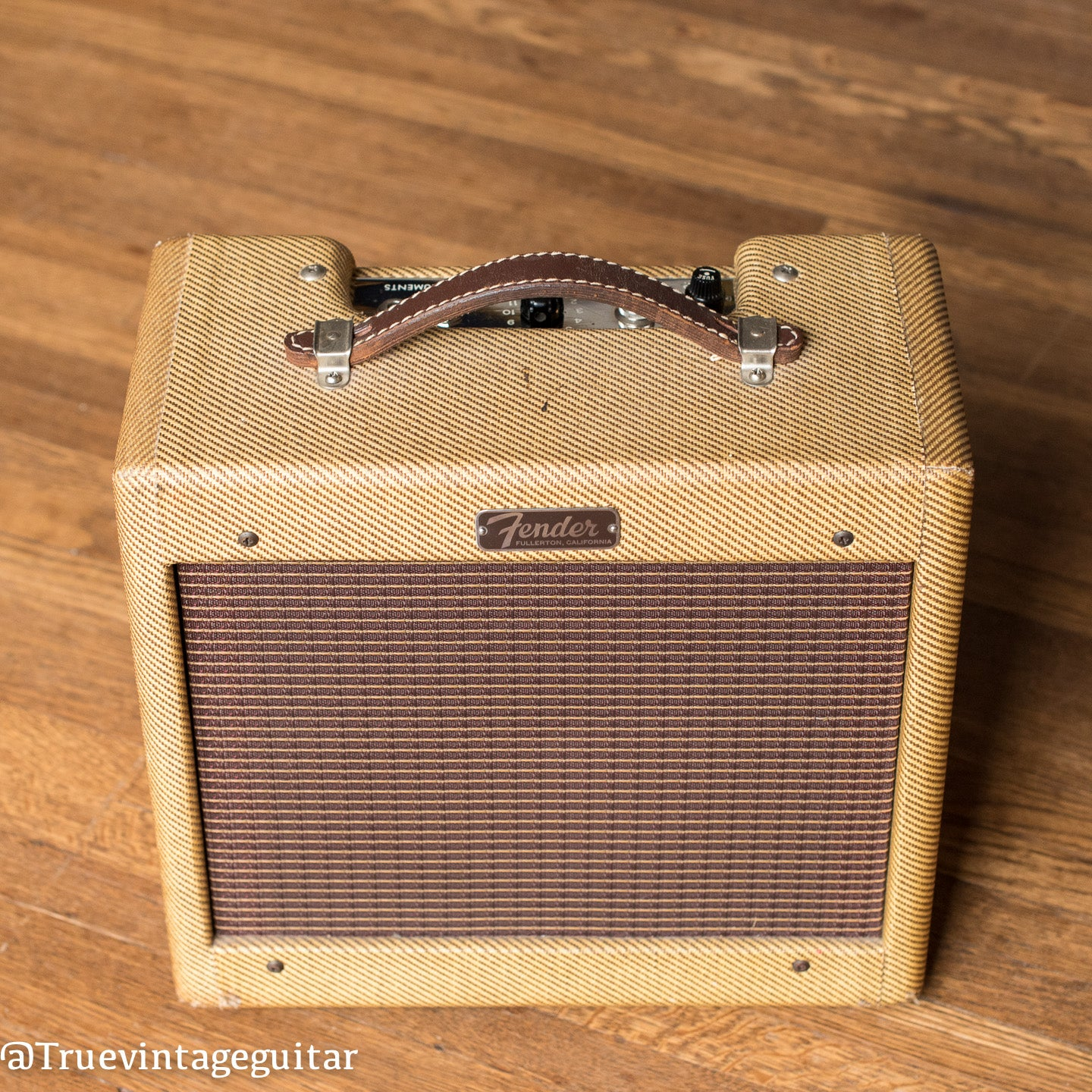1963 Fender Champ Amp tweed original leather handle