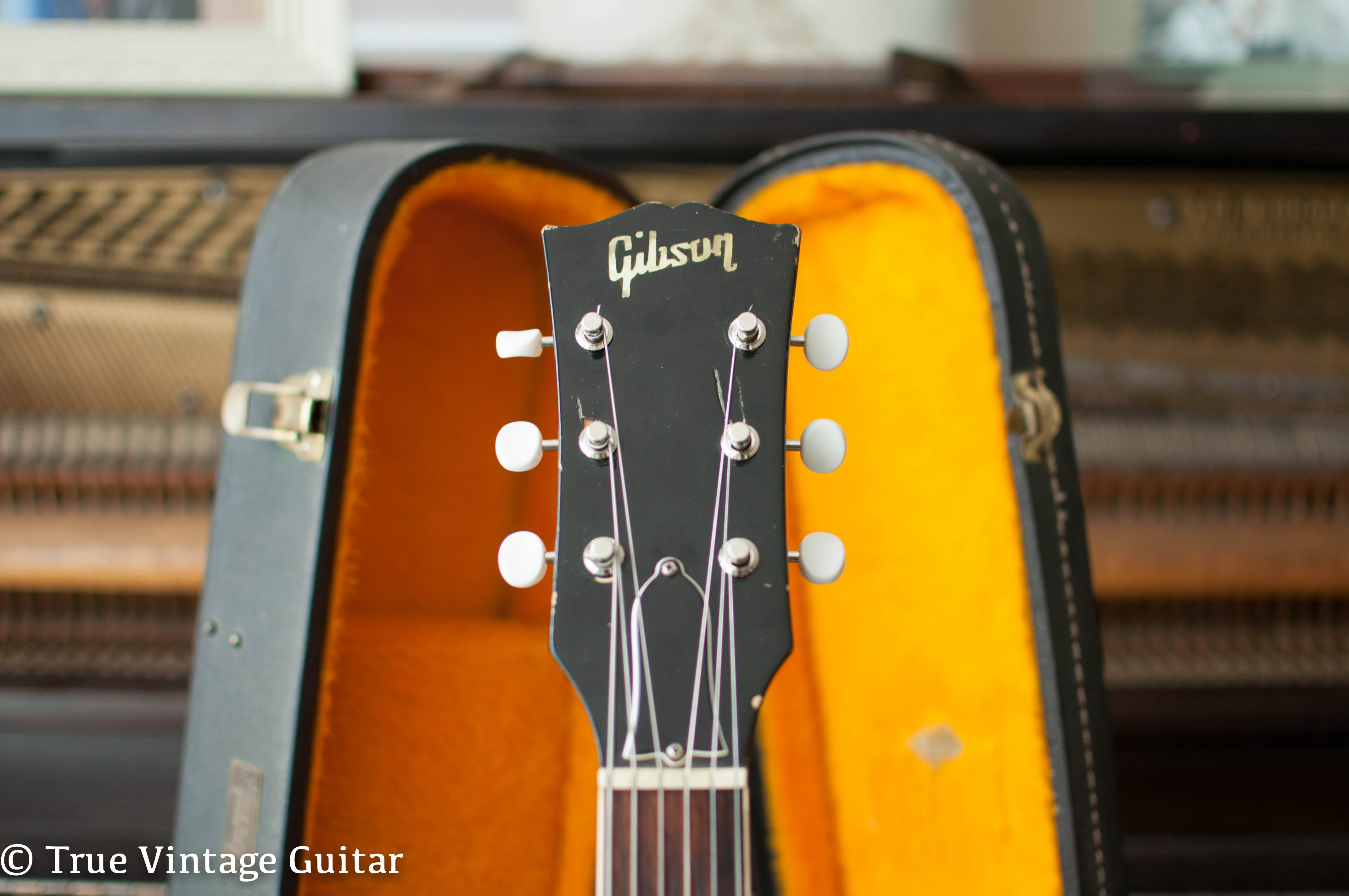 Headstock, pearl Gibson logo, Vintage 1966 Gibson ES-330 electric guitar