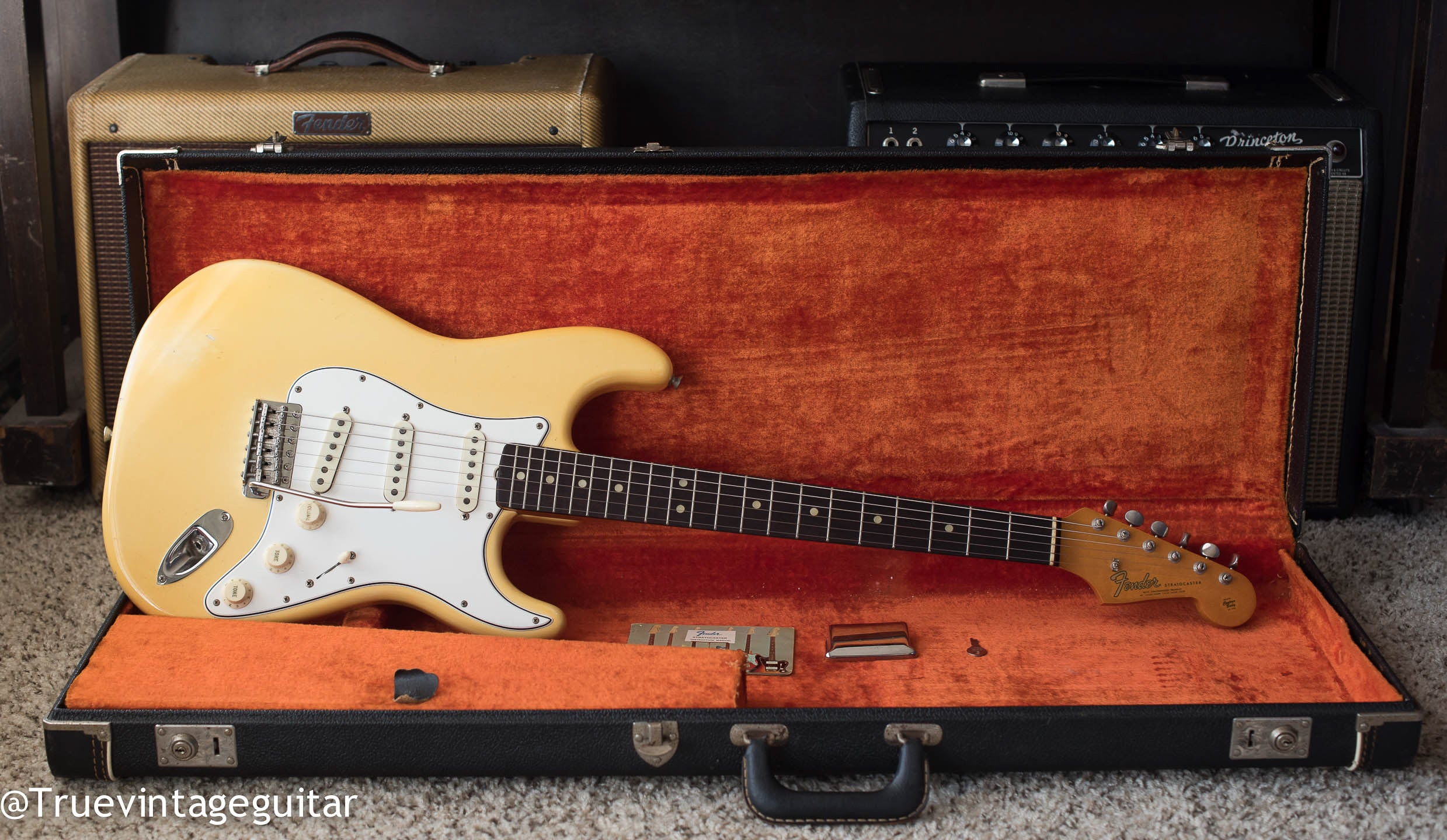 Vintage 1965 Fender Stratocaster Olympic White electric guitar