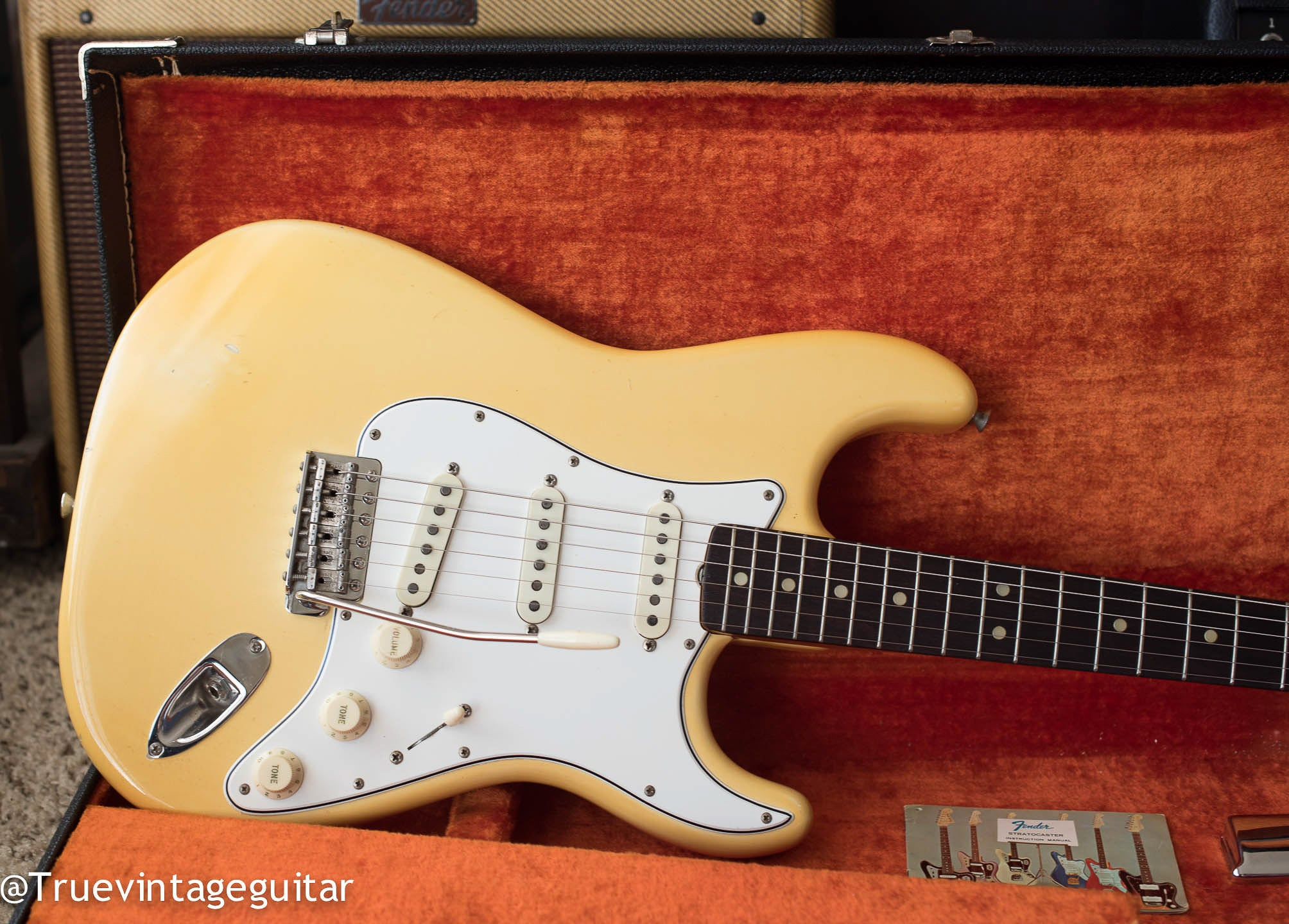 1965 Fender Stratocaster Olympic White cream guitar