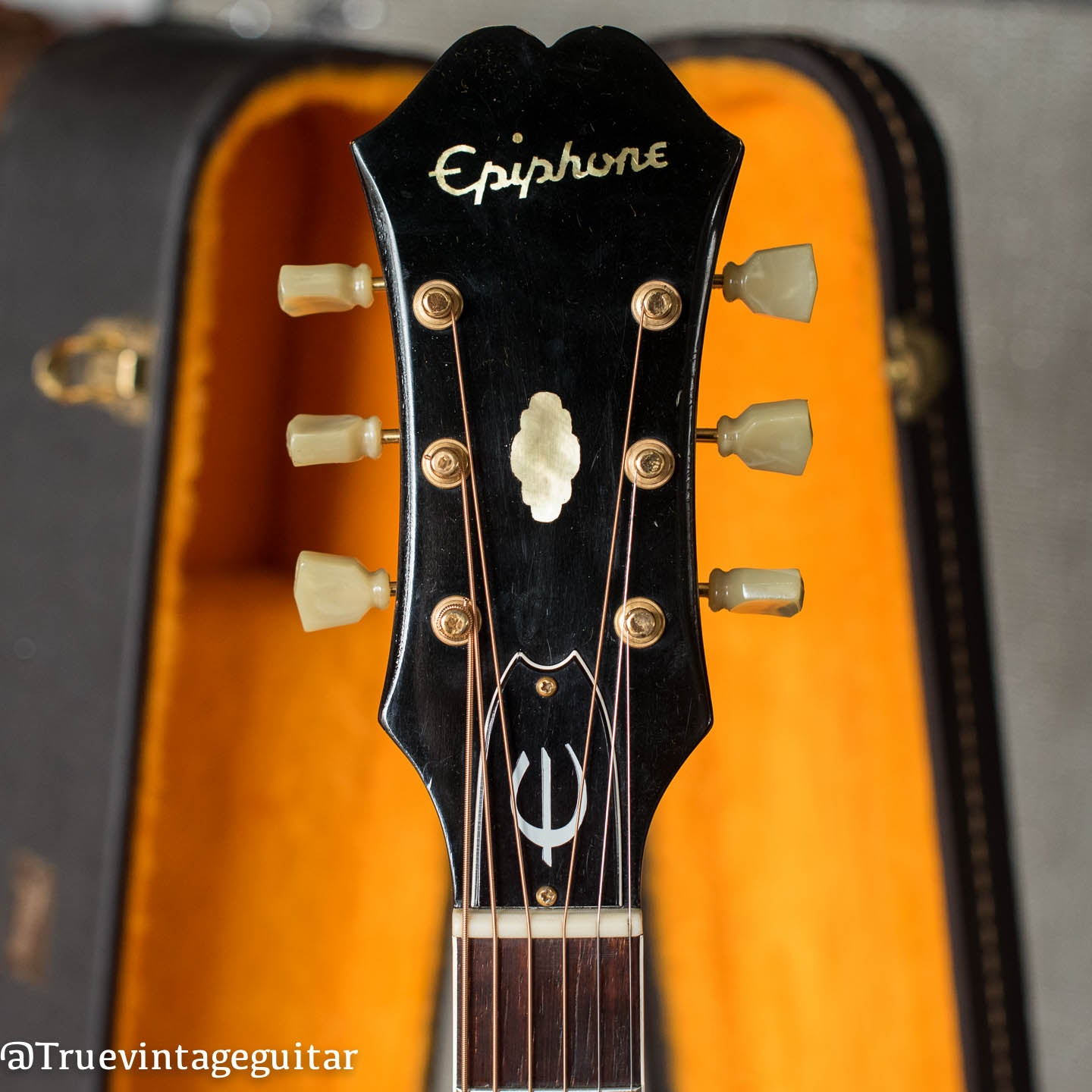 Headstock, Vintage 1965 Epiphone FT-110 Frontier acoustic guitar