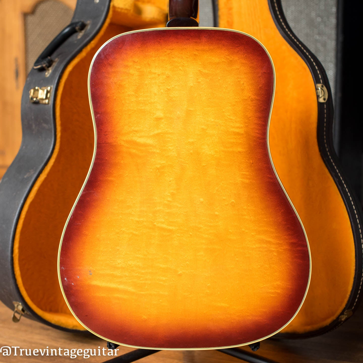 Flame Maple back, Vintage 1965 Epiphone FT-110 Frontier acoustic guitar
