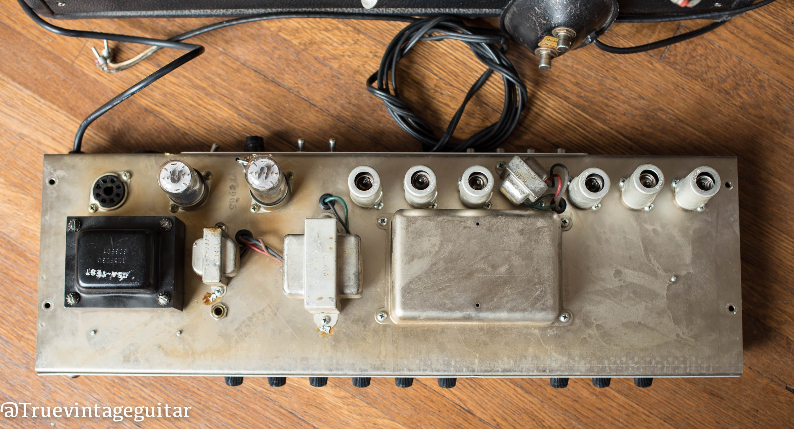 1965 Fender Deluxe Reverb amp, chassis, transformers