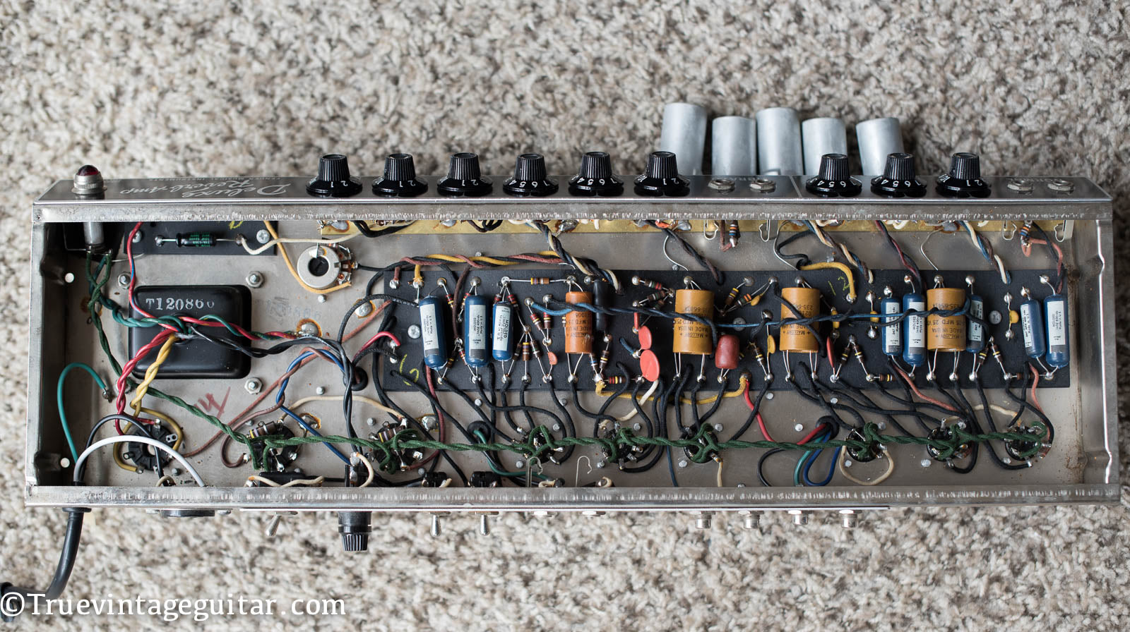 Chassis, circuit board, tag board, 1966 Fender Deluxe Reverb