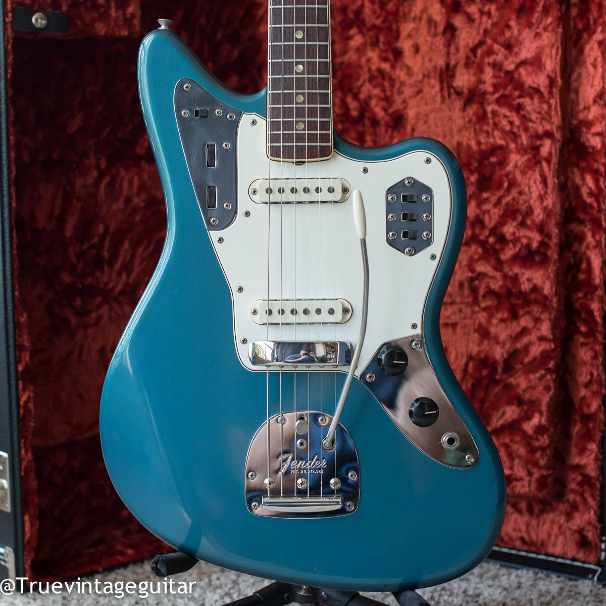 Vintage 1966 Fender Jaguar electric guitar Lake Placid Blue Metallic