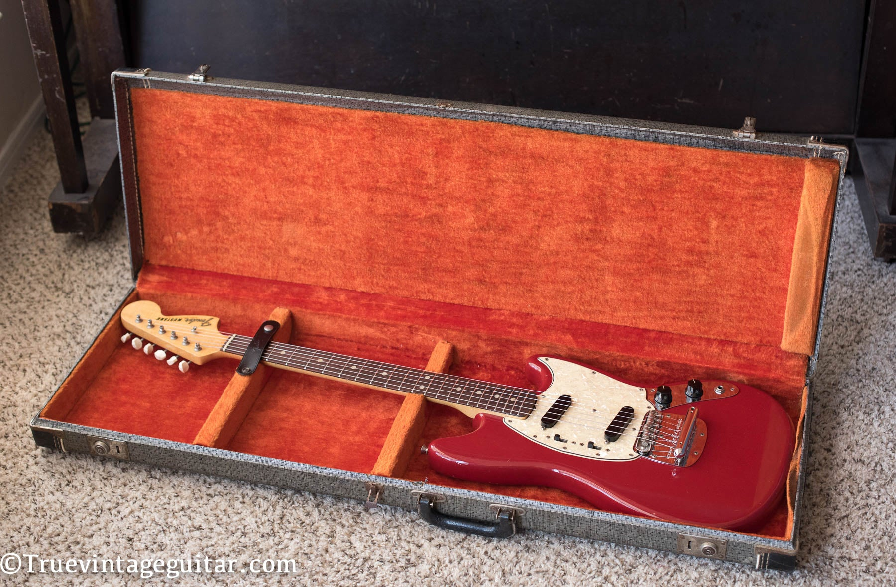Vintage 1960s Fender Mustang guitar Red