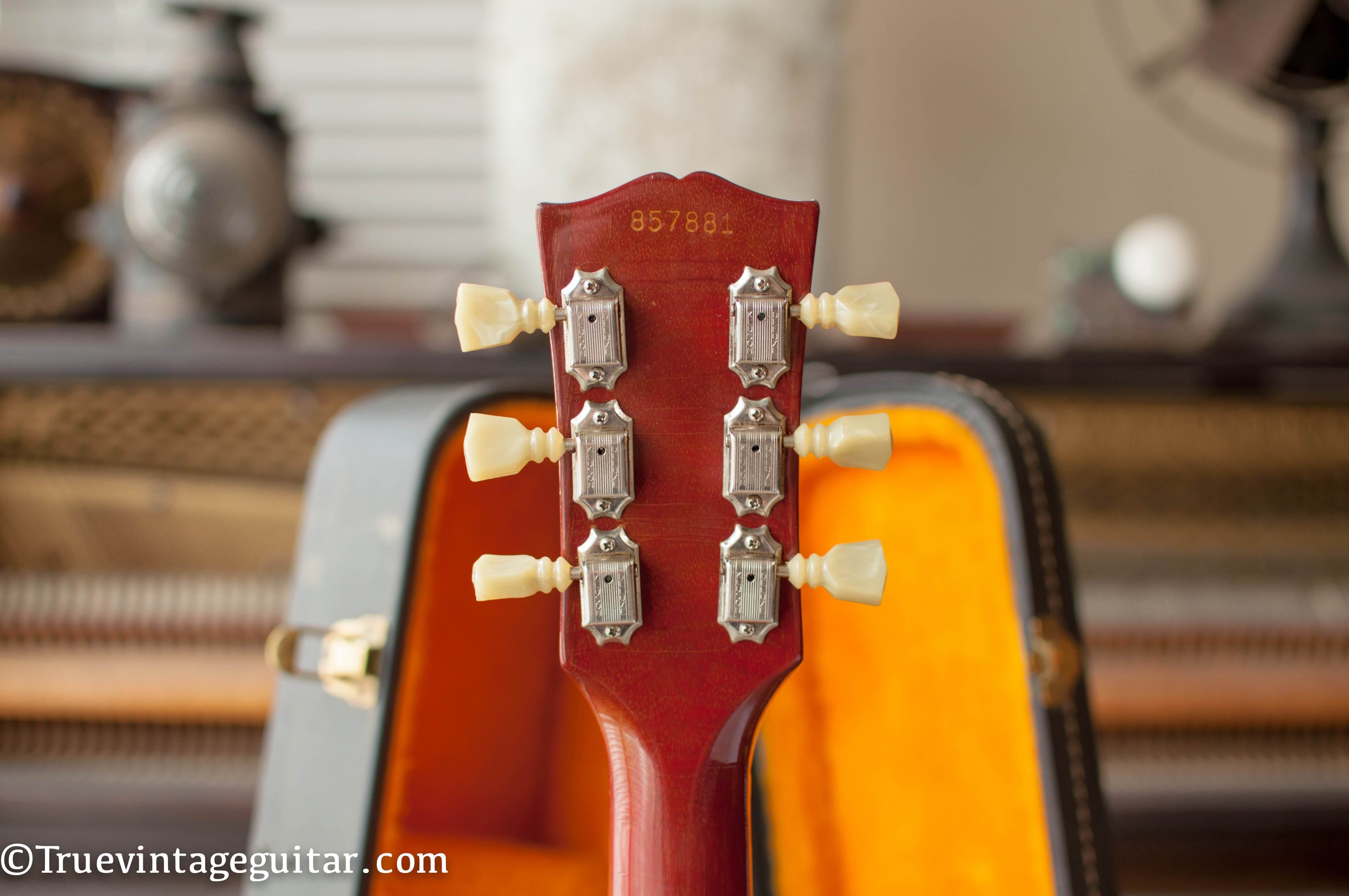 Back of neck, Kluson double line tuners, Vintage 1966 Gibson ES-335 tdc electric guitar