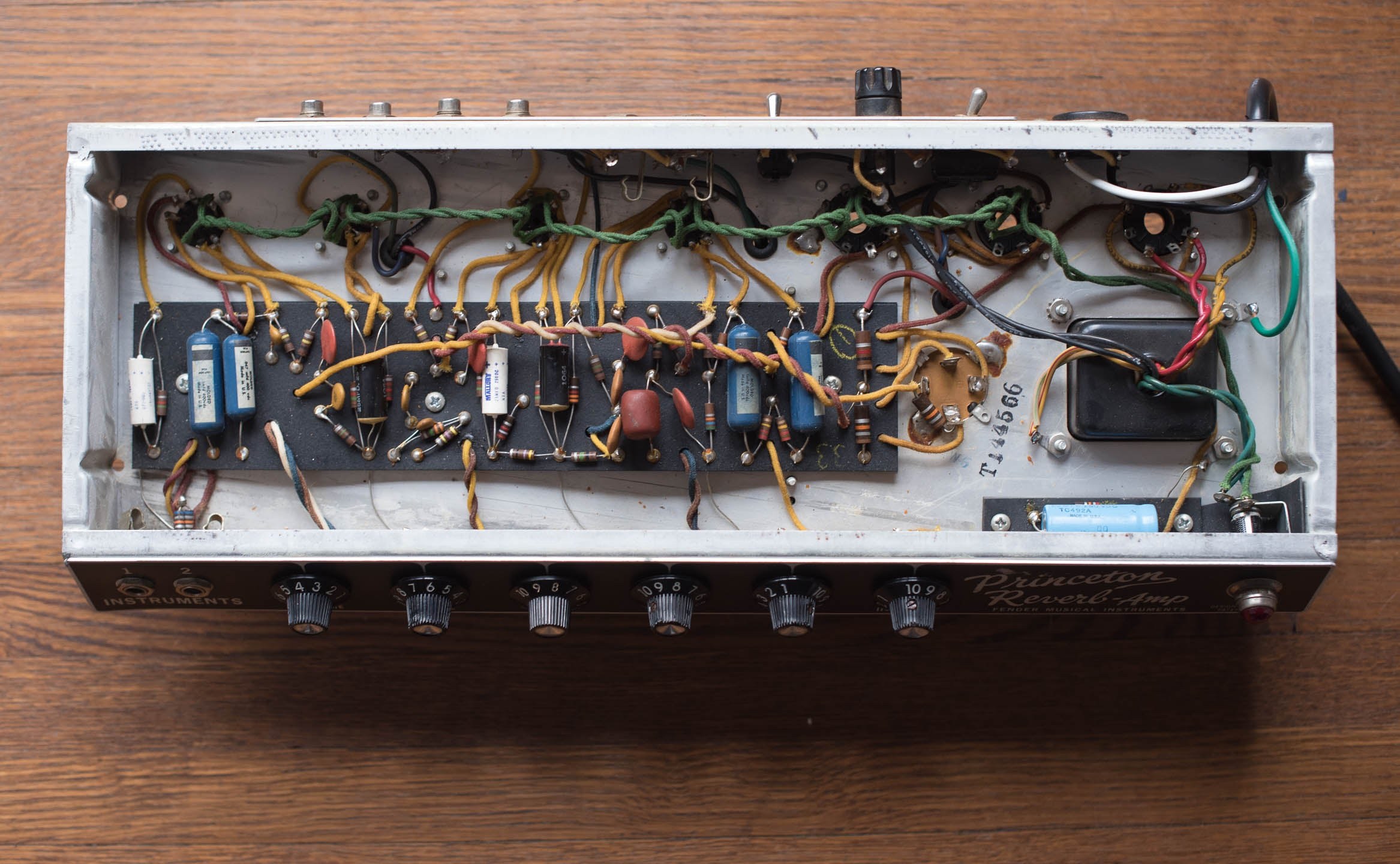 chassis, circuit board, 1966 Fender Princeton Reverb