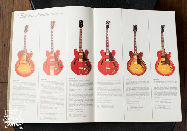 Vintage guitar consignment, 1966 Gibson catalog thin line electric page