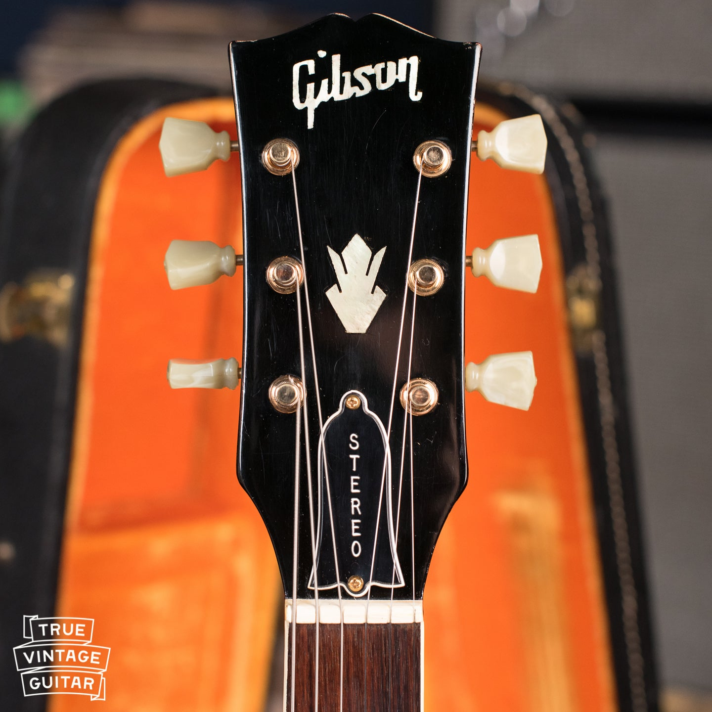 headstock, neck, vintage Gibson ES-345 TDC Cherry electric guitar Stereo