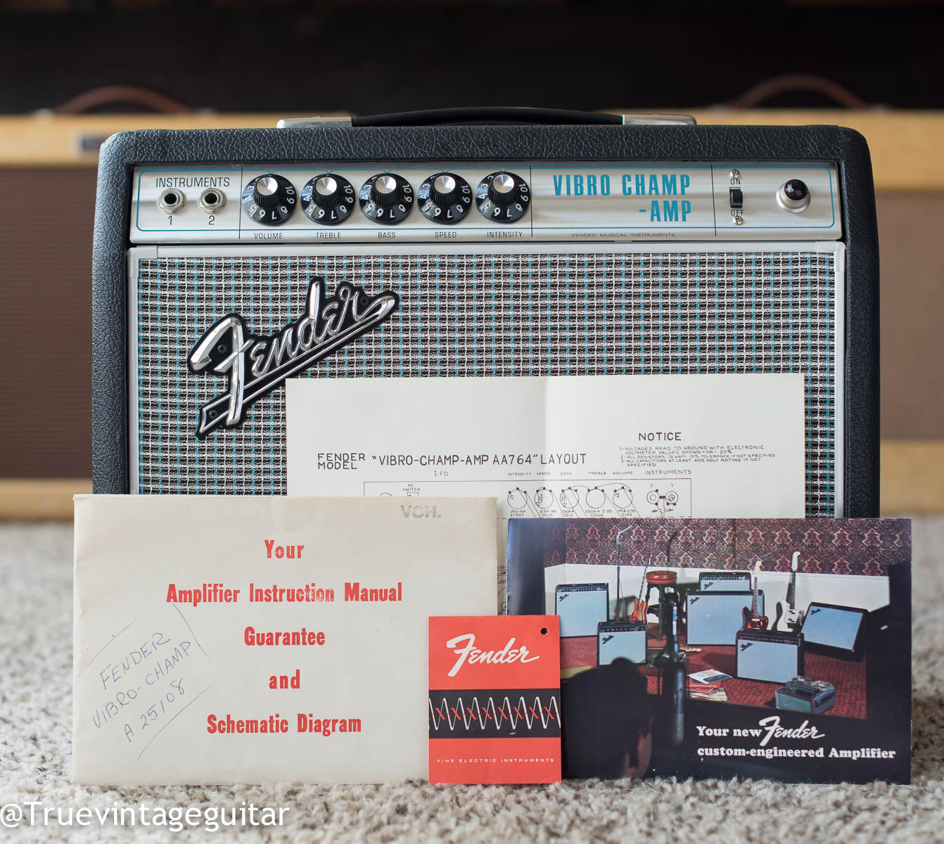 Original Fender amplifier instruction manual, schematic, Tolex tag, 1968 Fender Vibro Champ amp