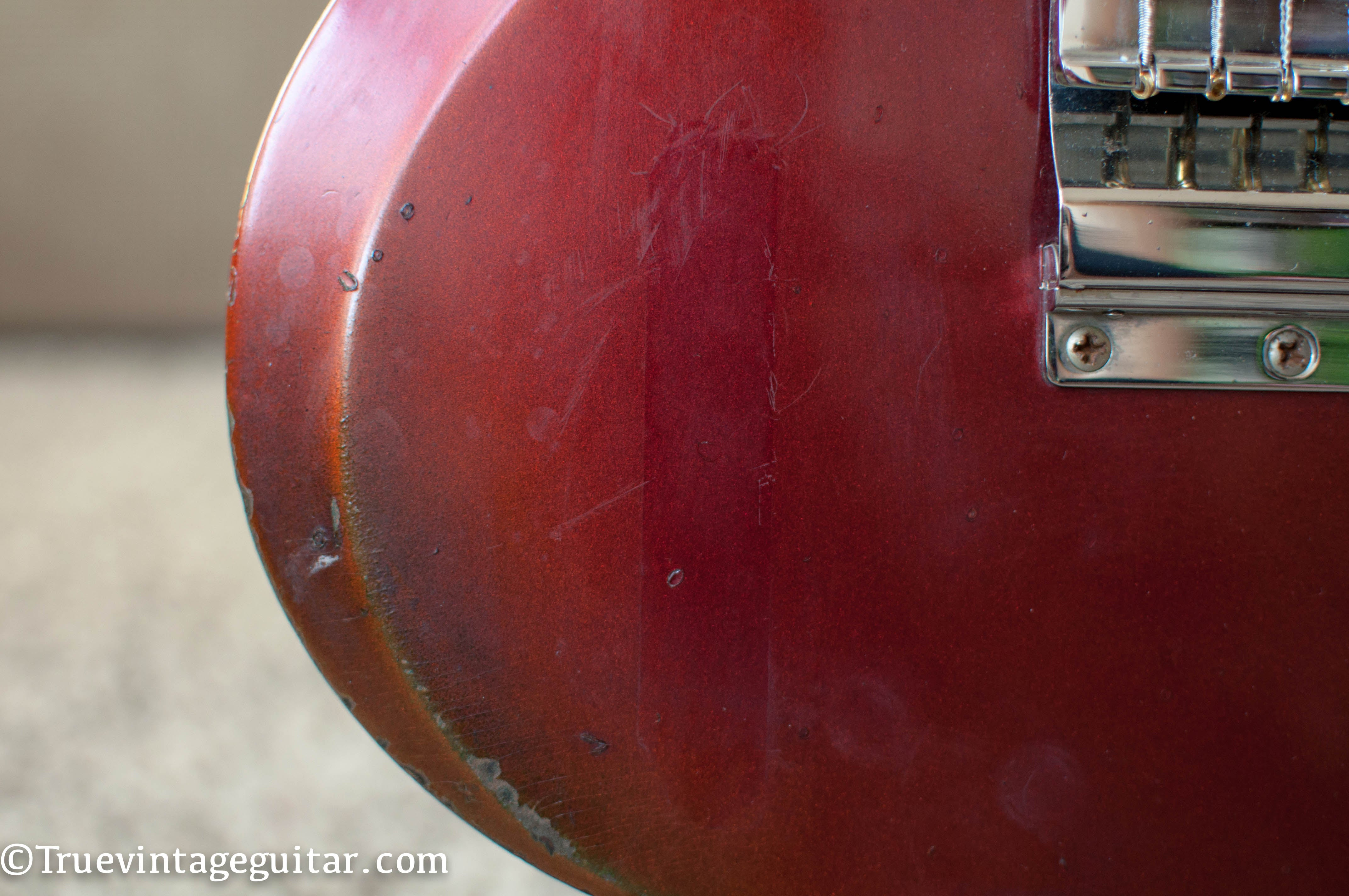 Sparkling Burgundy red metallic color 1960s Gibson electric guitar