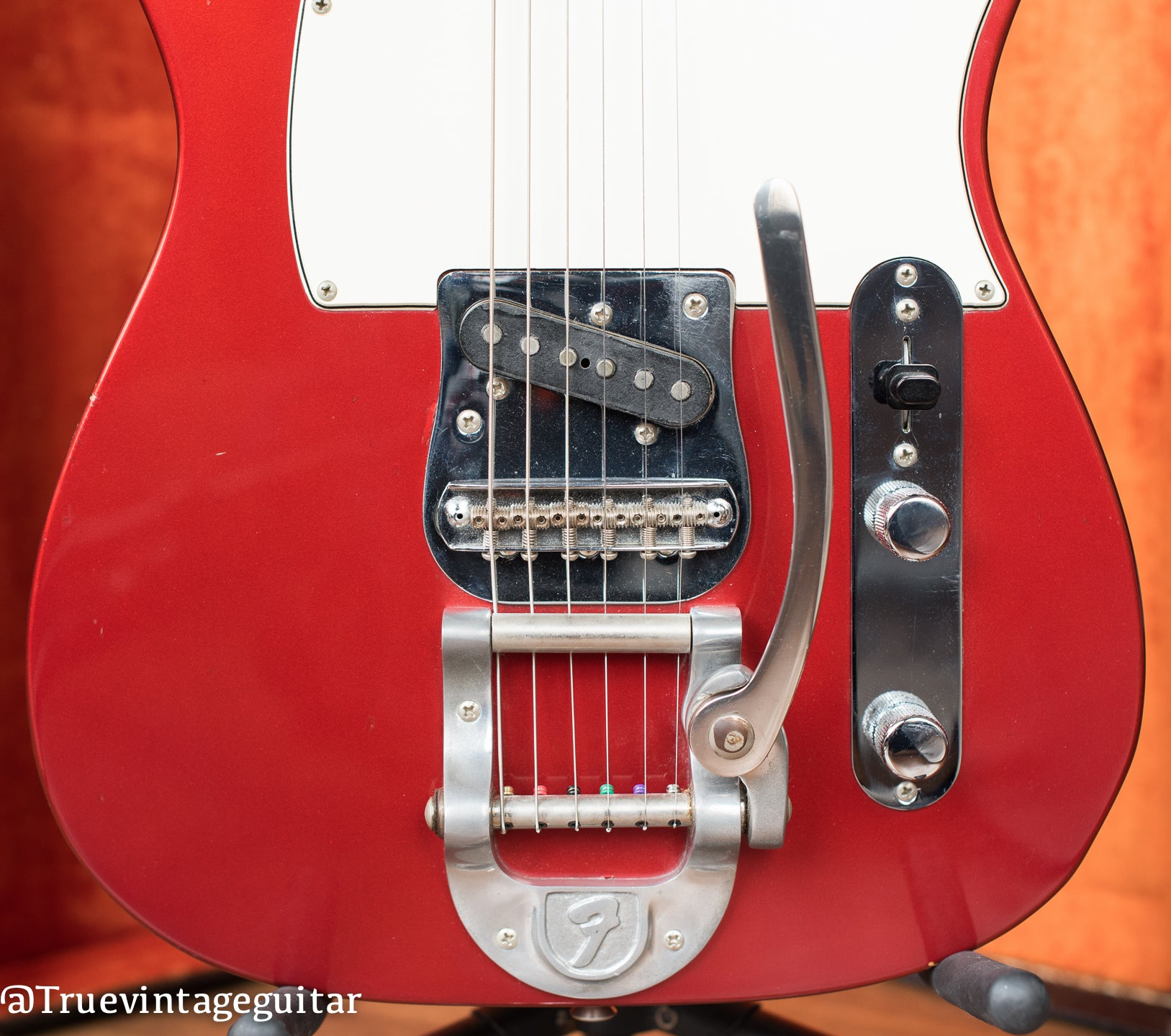 Factory installed Bigbsy tailpiece, vintage 1968 Fender Telecaster electric guitar, custom color Candy Apple Red Metallic finish