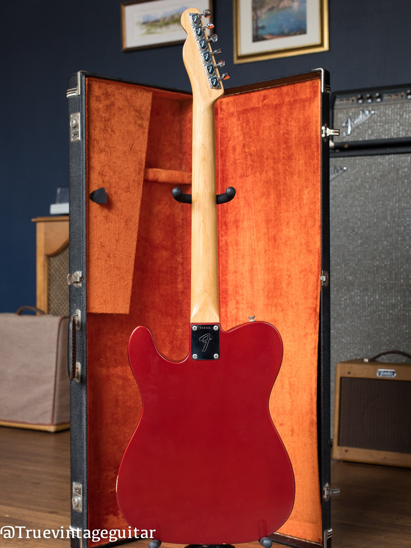 back, Vintage 1968 Fender Telecaster Candy Apple Red Metallic Bigsby electric guitar