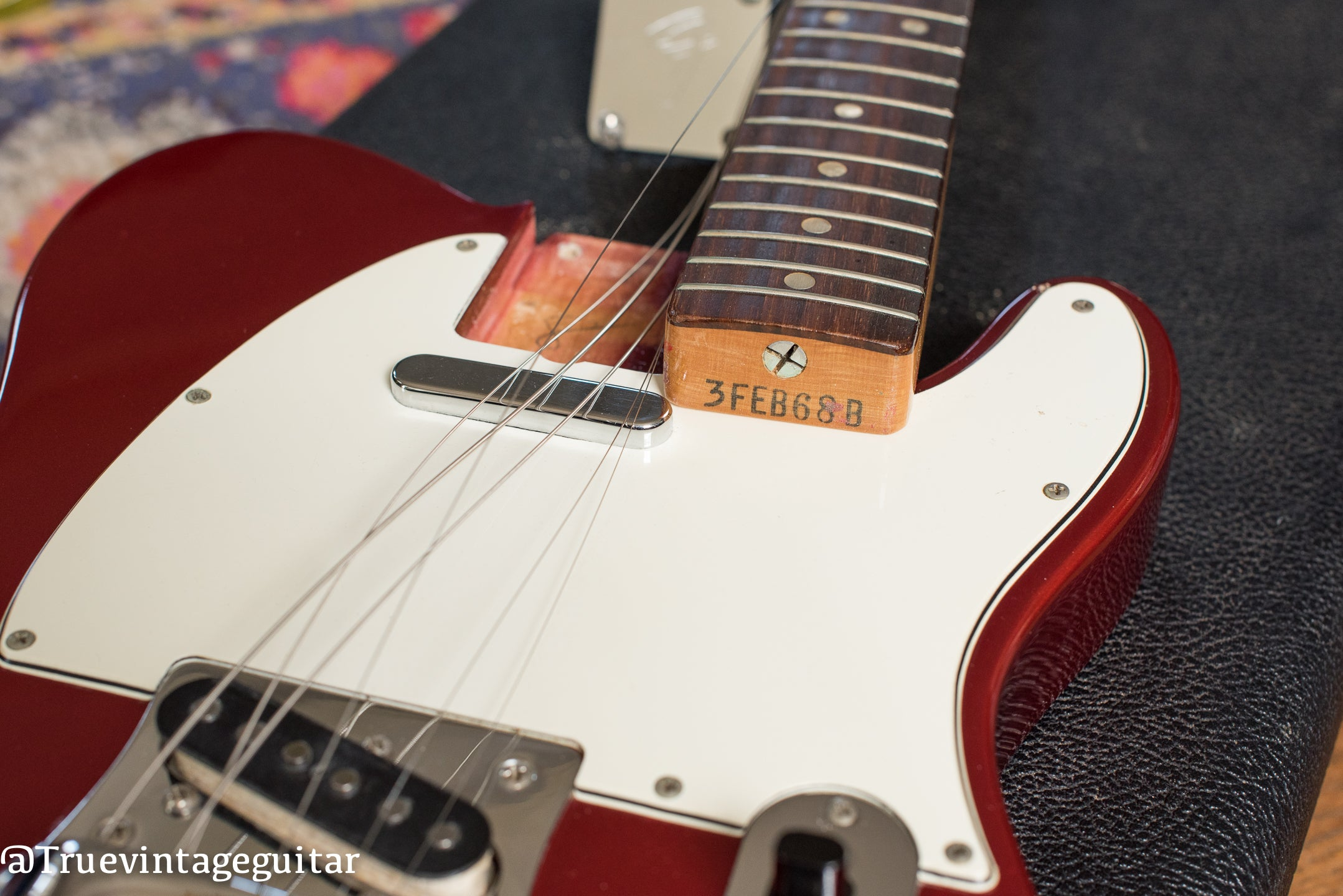 "Neck stamp, date stamp, ""3FEB68B"", Vintage 1968 Fender Telecaster Candy Apple Red Metallic Bigsby electric guitar"