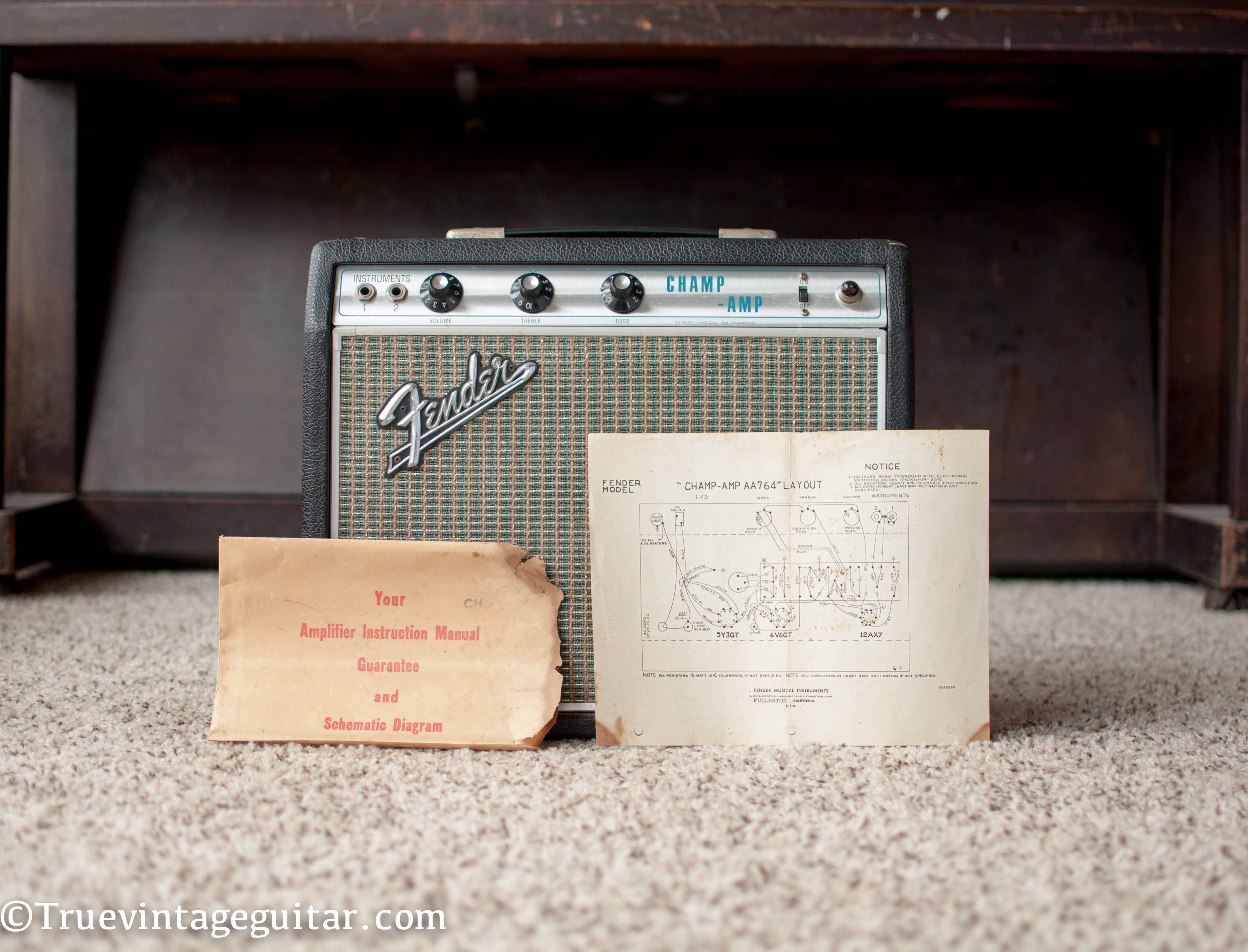 1969 Fender Champ guitar amp with schematic