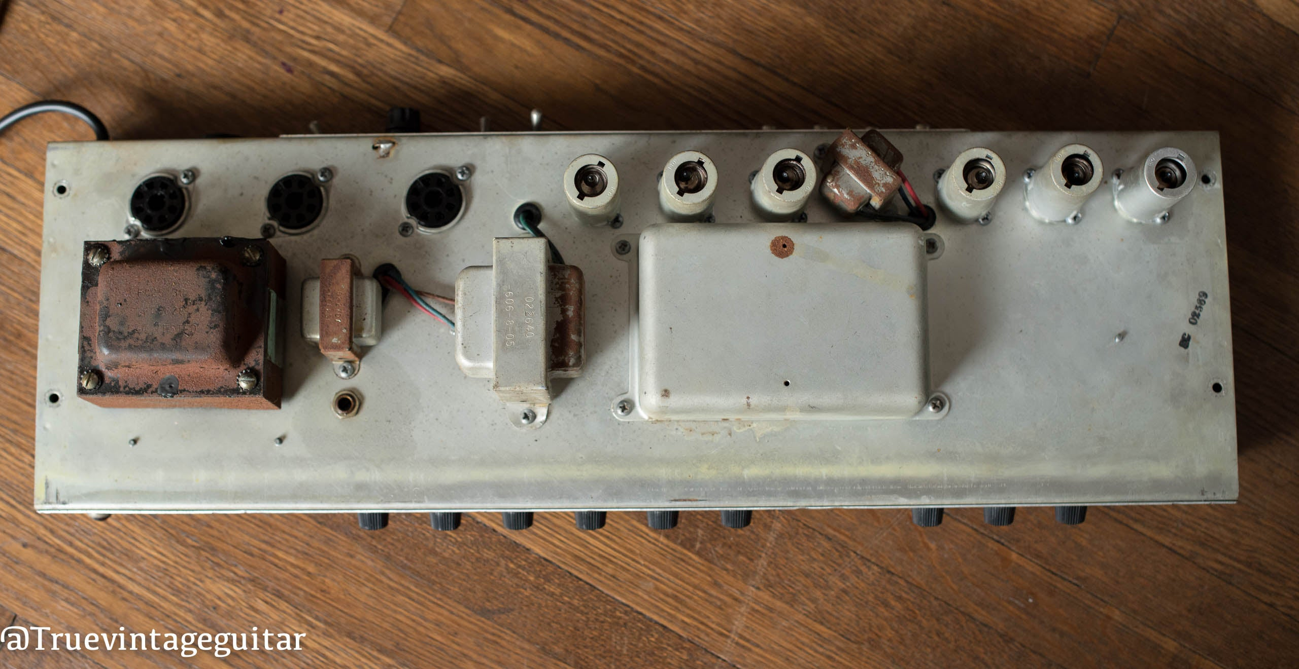 Chassis, output transformer, power transformer, 1969 Fender Deluxe Reverb
