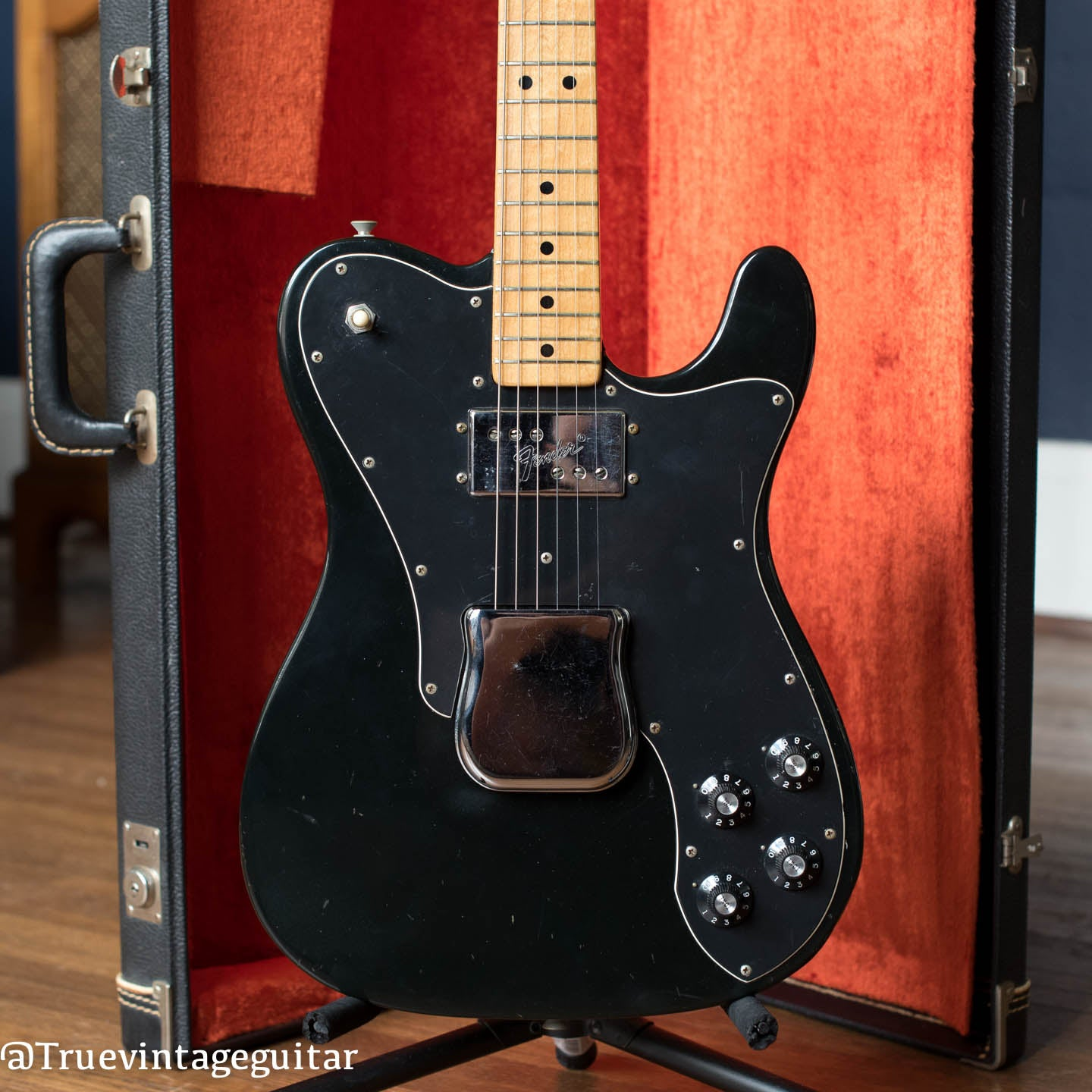 Black Fender Telecaster Custom electric guitar, vintage 1974