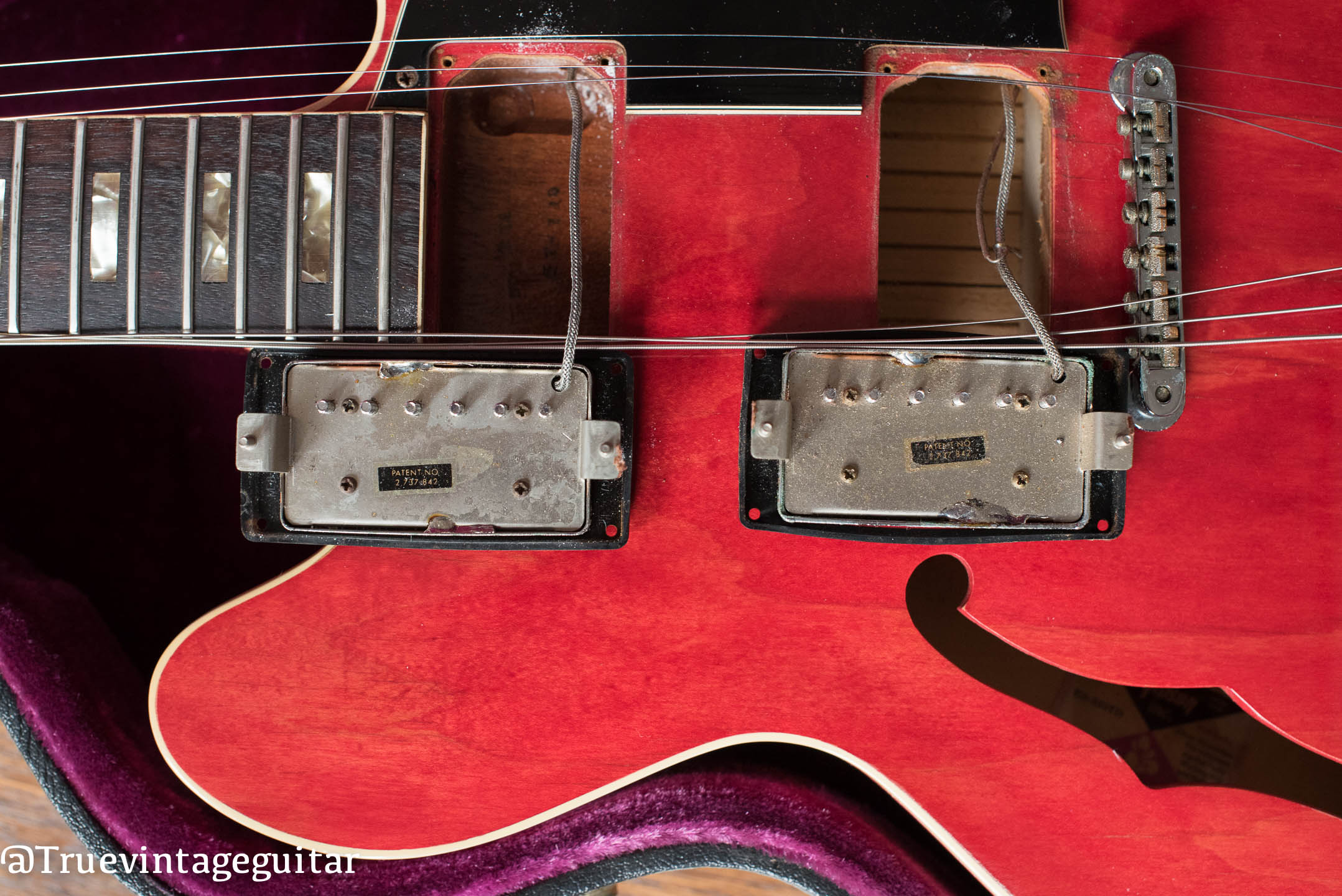 Patent Sticker Humbucker pickups, 1974 Gibson ES-335