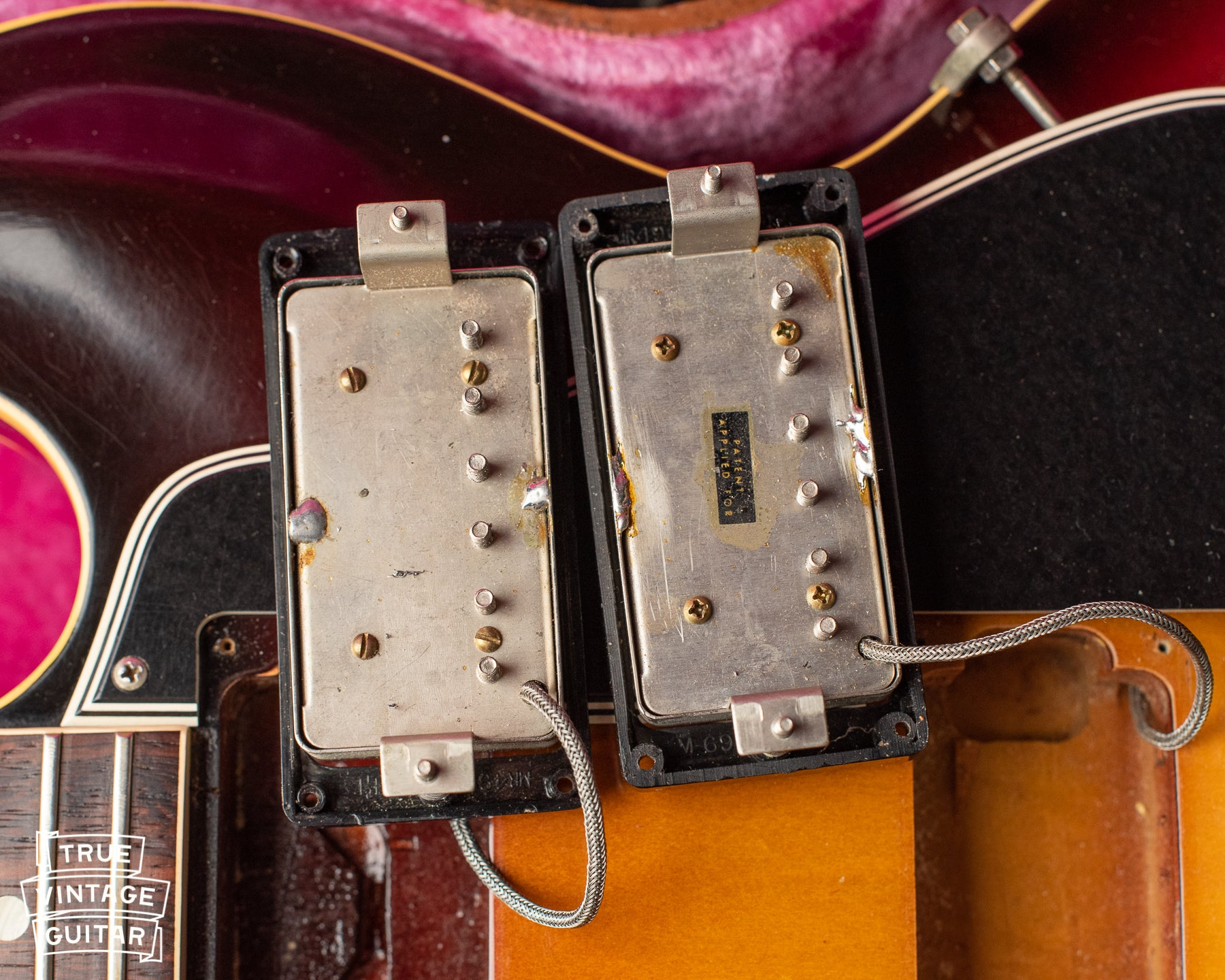 Gibson PAF humbuckers, patent applied for, no sticker out of phase