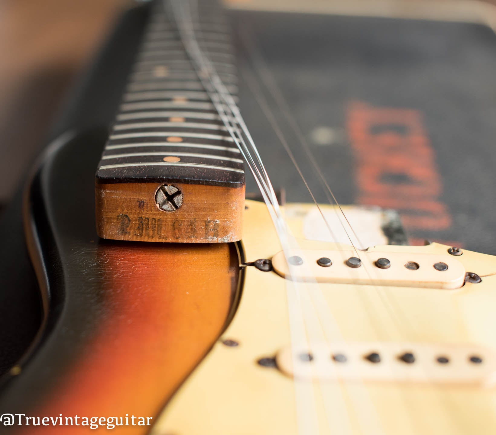 How old is my Fender Stratocaster? Neck heel ink stamp for how to date Fender Stratocaster guitars.
