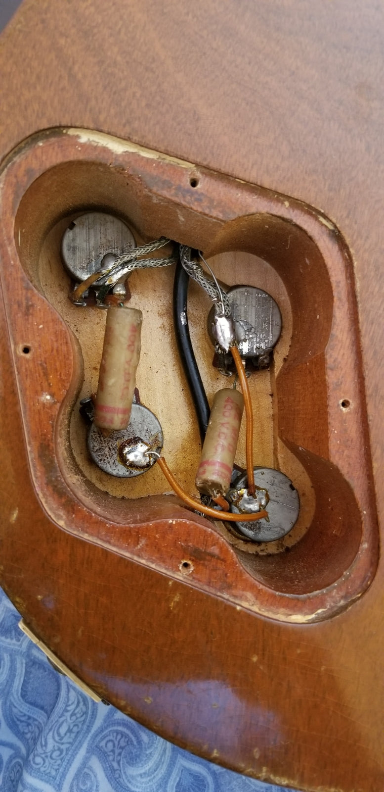 Control cavity, original potentiometers and electronics, 1954 Gibson Les Paul Model goldtop