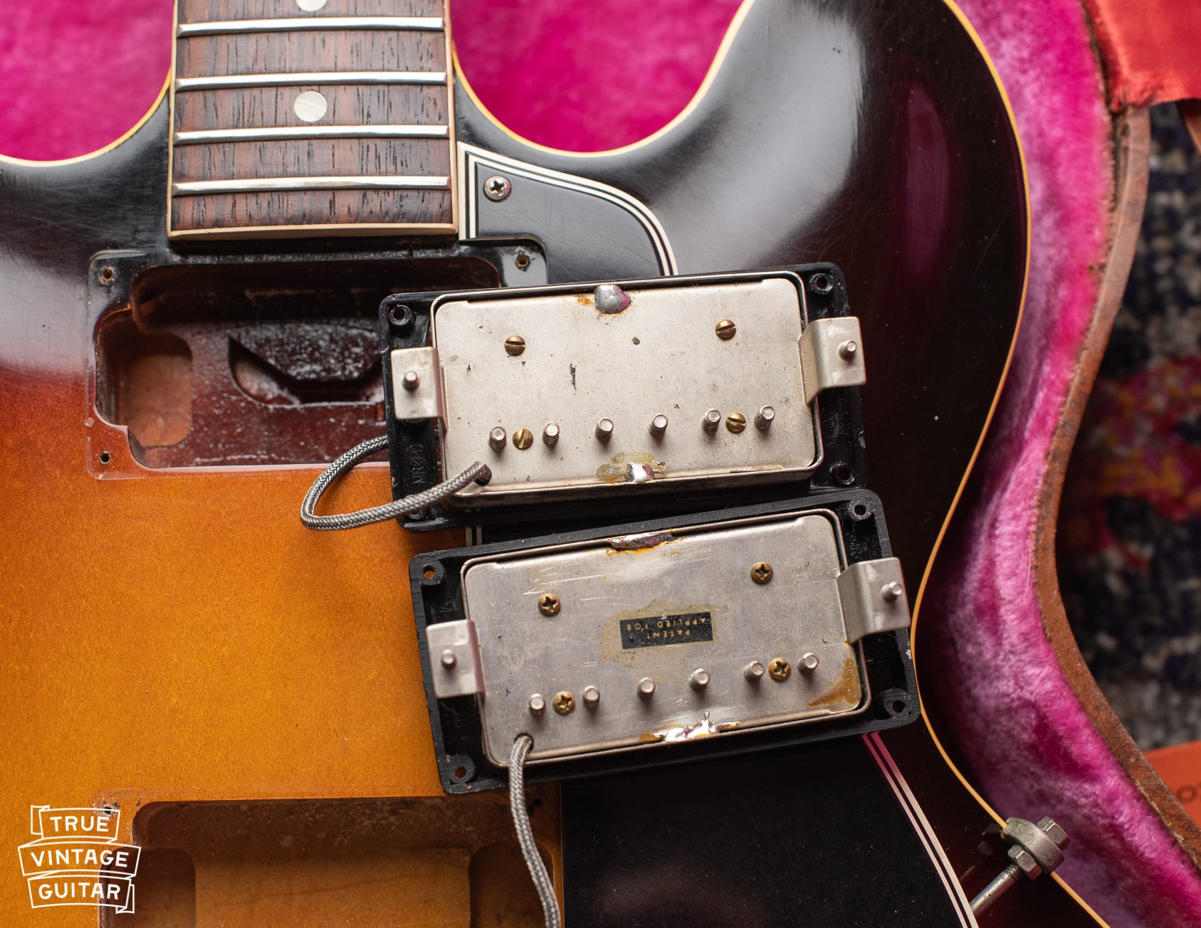 Gibson ES-335 1960 PAF pickups. Neck pickup has no sticker, slot screws, and is out of phase from the bridge pickup.