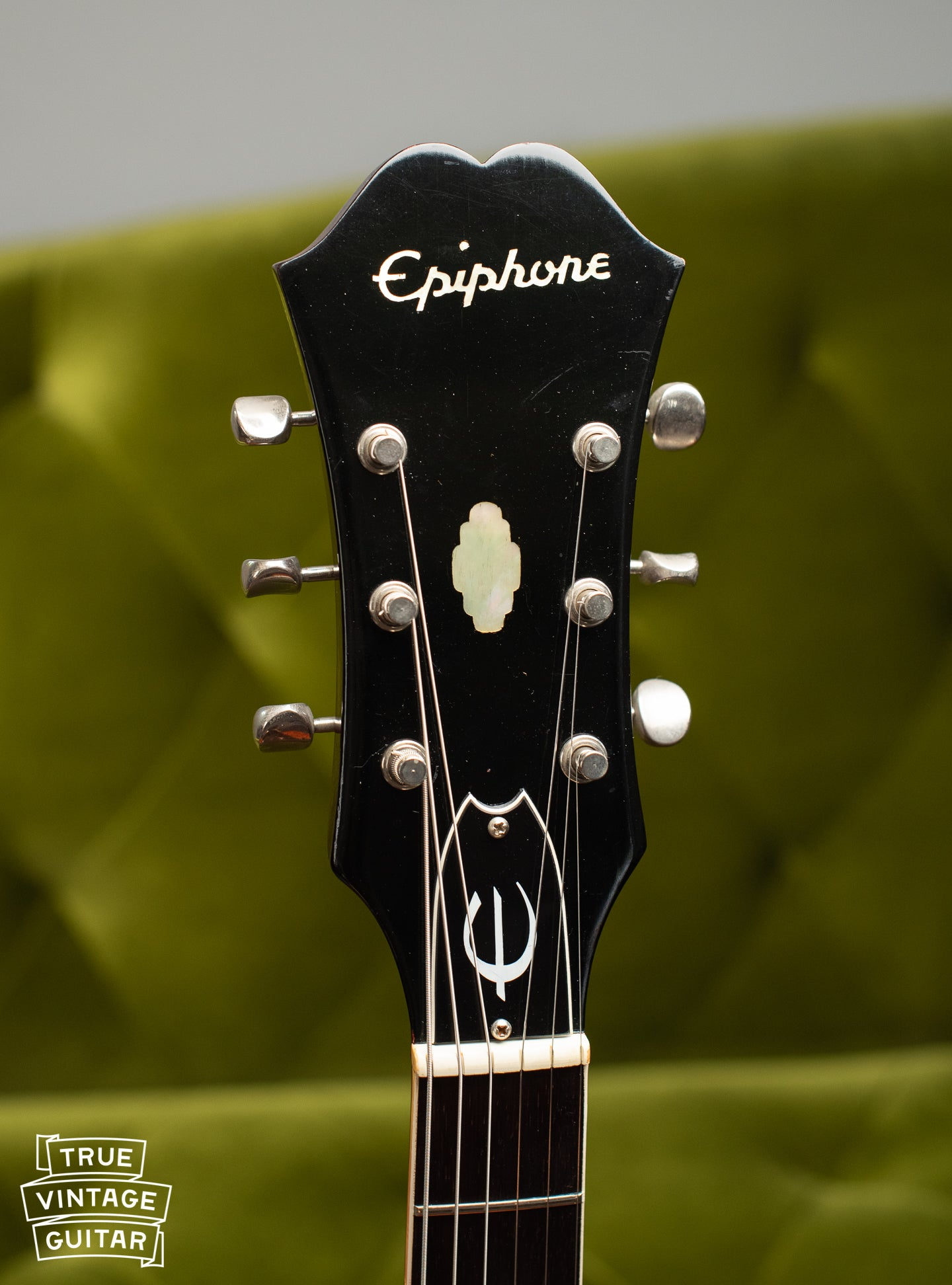 Headstock, pearl Epiphone inlay, Vintage 1967 Epiphone E360T Riviera