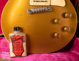 1950s Gibson polish bottle, Vintage 1954 Gibson Les Paul goldtop