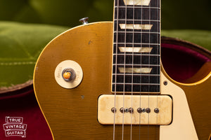 Rhythm Treble switch ring, Historic Makeovers Catalin switch tip, Vintage 1954 Gibson Les Paul goldtop