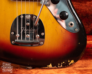 Finish flaking, Vintage 1963 Fender Jaguar Sunburst