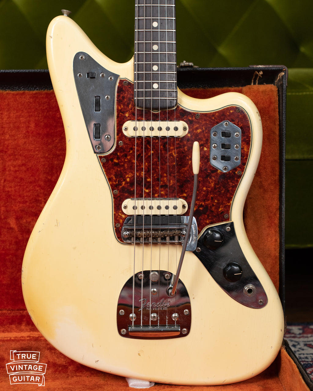 1965 Fender Jaguar Olympic White vintage guitar
