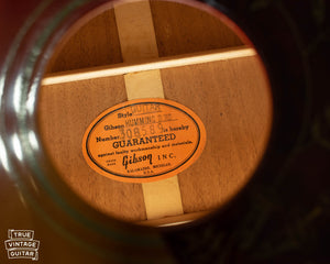 Gibson Hummingbird label 1965