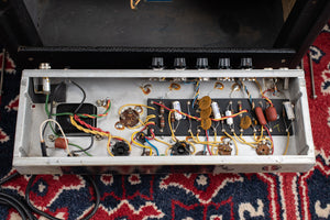 Circuit board, tag board, capacitors, 1969 Fender Vibro Champ Amp guitar amplifier