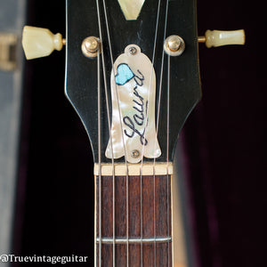 Custom abalone shell and turquoise stone truss rod cover, Vintage 1972 Gibson ES-345 Stereo Sunburst