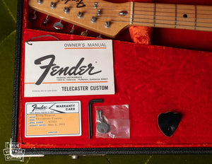 Owner's manual, hang tag, warranty card, 1973 Fender Telecaster Custom