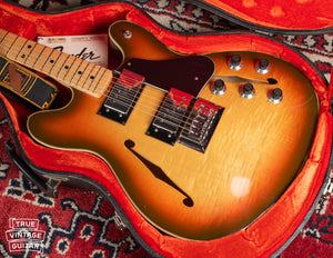In original case, Vintage 1976 Fender Starcaster Sunburst guitar